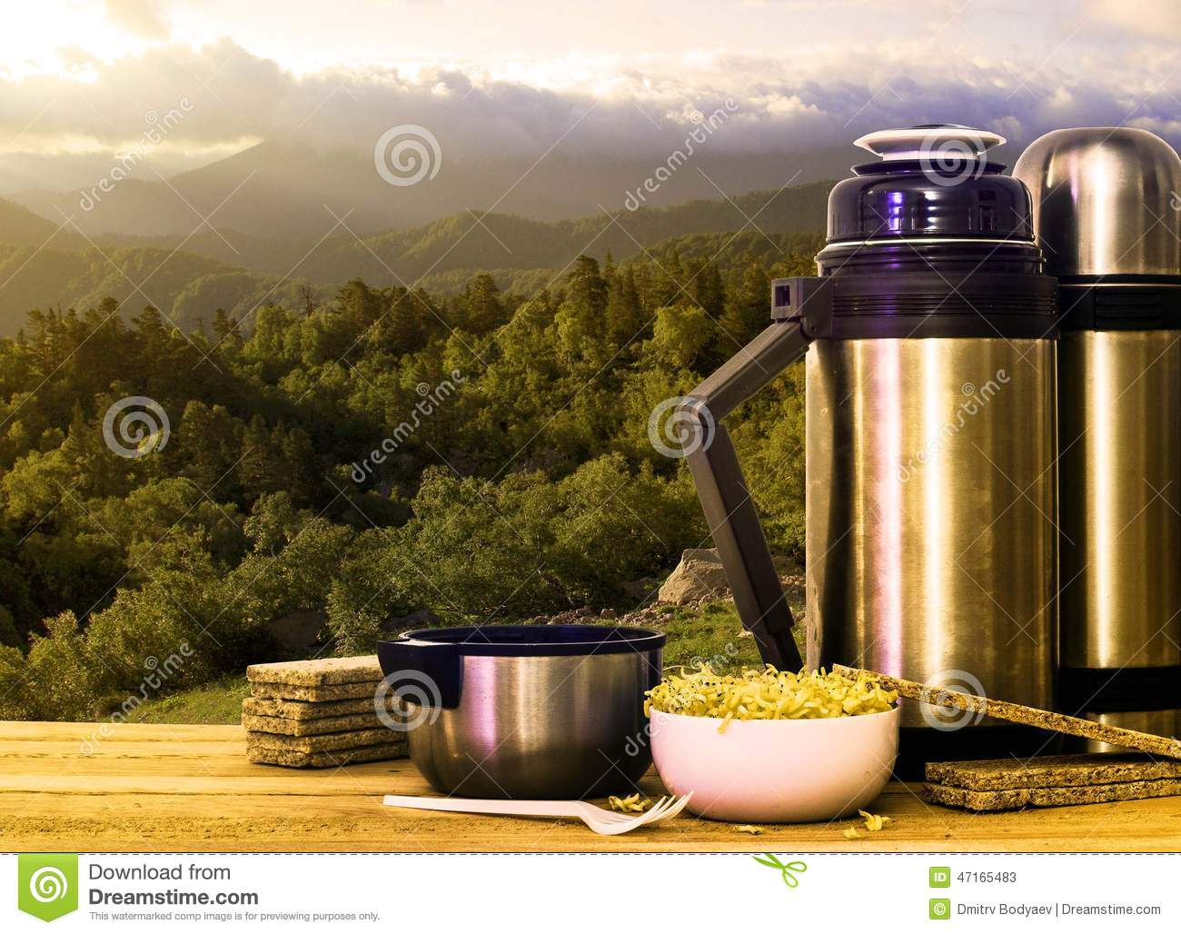 Thermos and instant noodles in the mountains