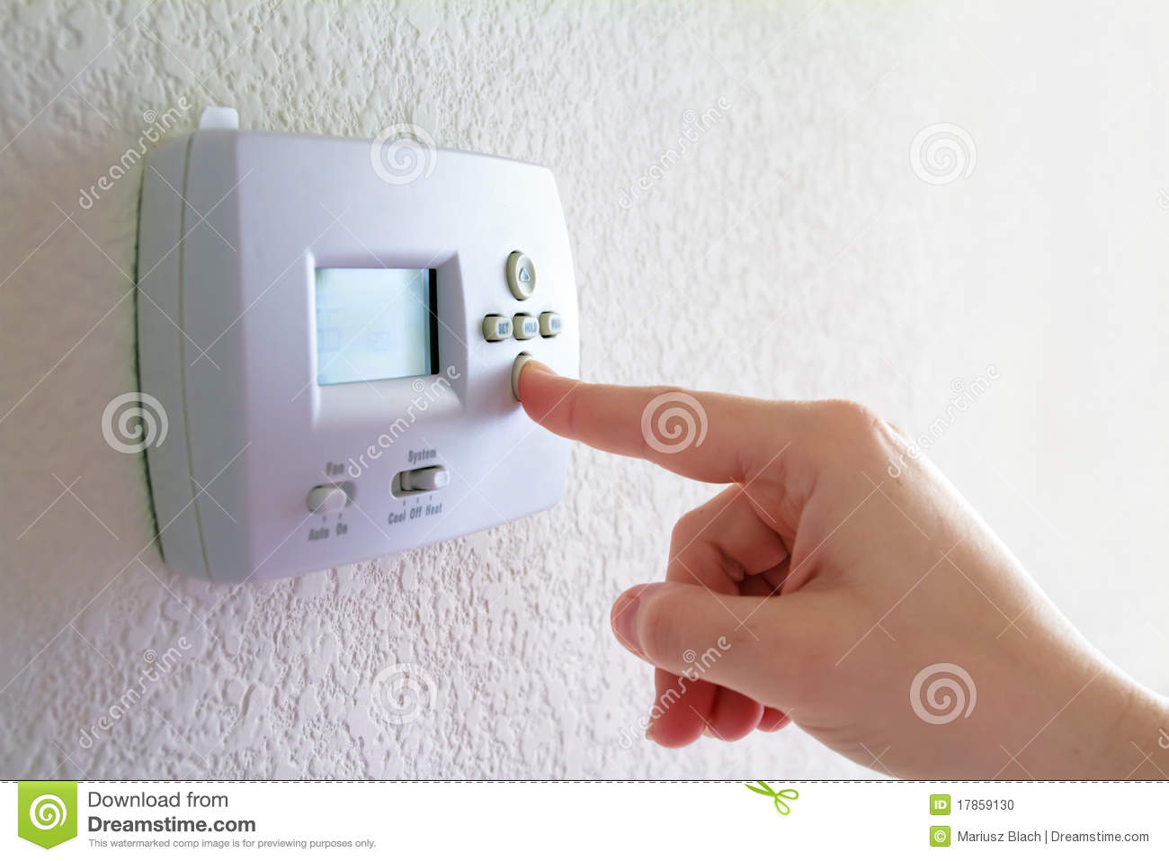 Thermostat and human hand