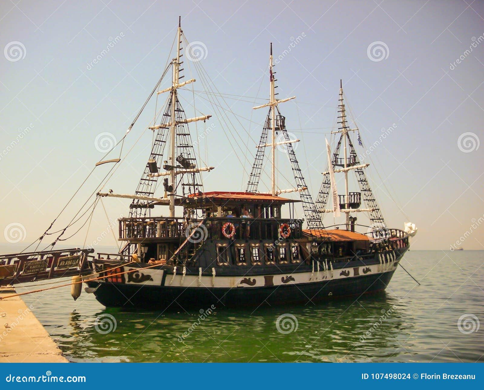 Thessaloniki, Greece - June 07 2014 : Arabella boat waiting for tourists in Thessaloniki City, Greece.
