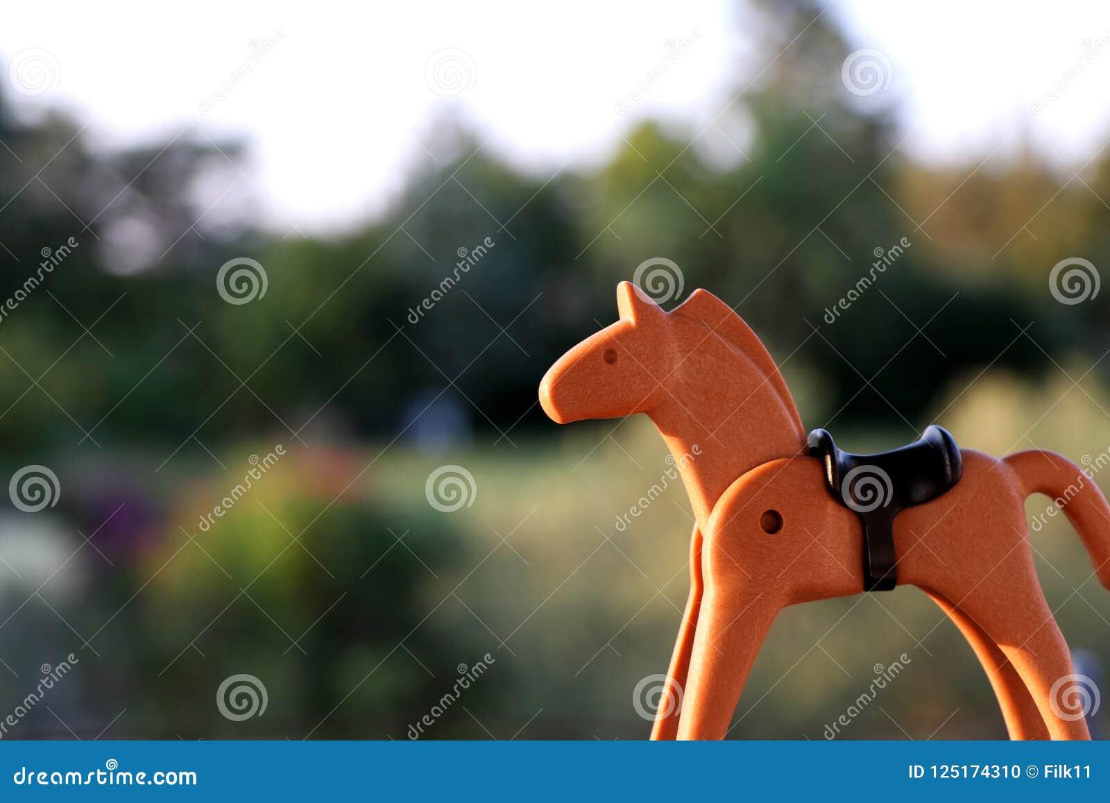 Thessaloniki, Greece - September 2 2018: Brown horse, playmobil figure