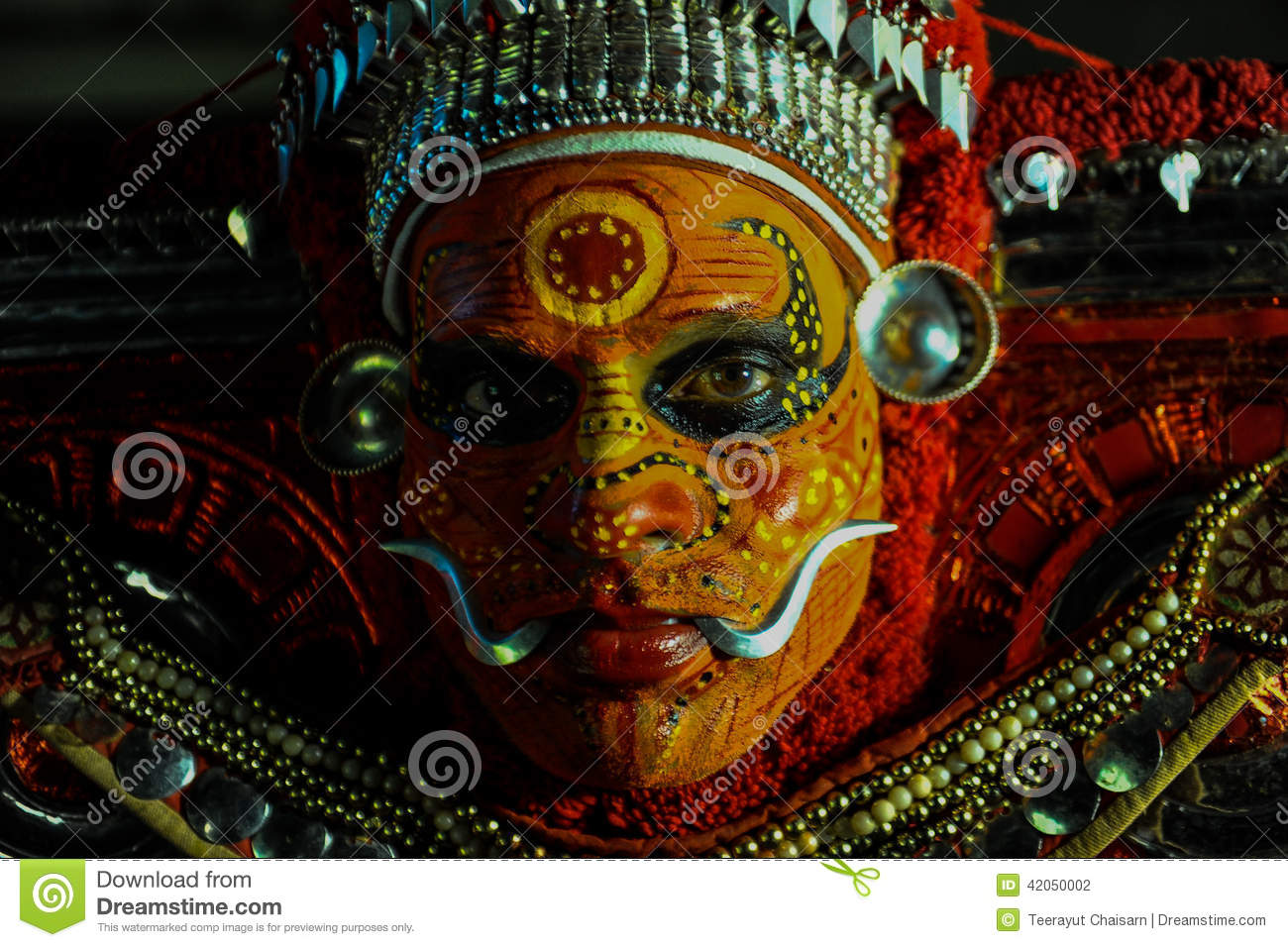 Theyyam is a ritualistic folk art form of Kerala Editorial Photography