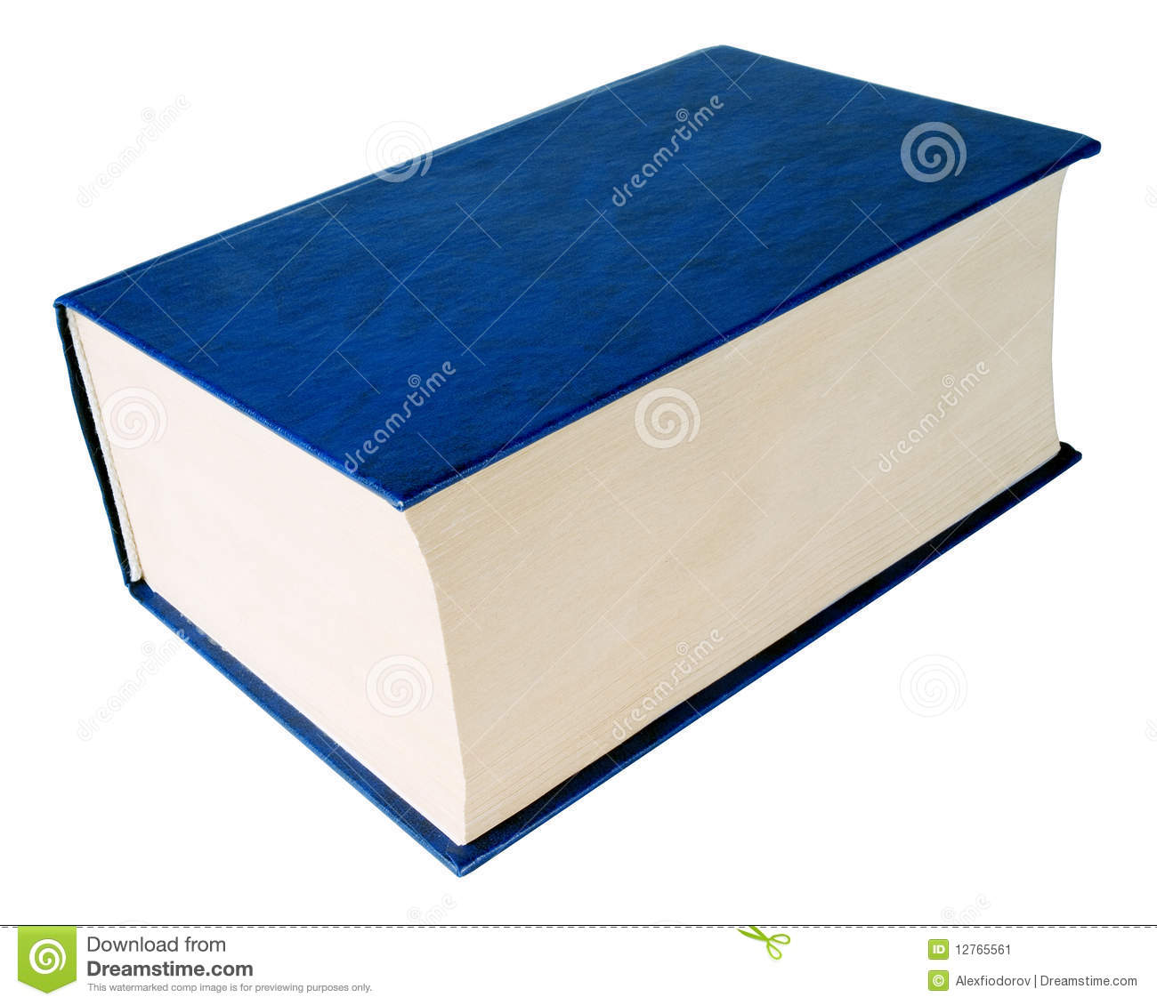 Thick blue book on white background (isolated with path).