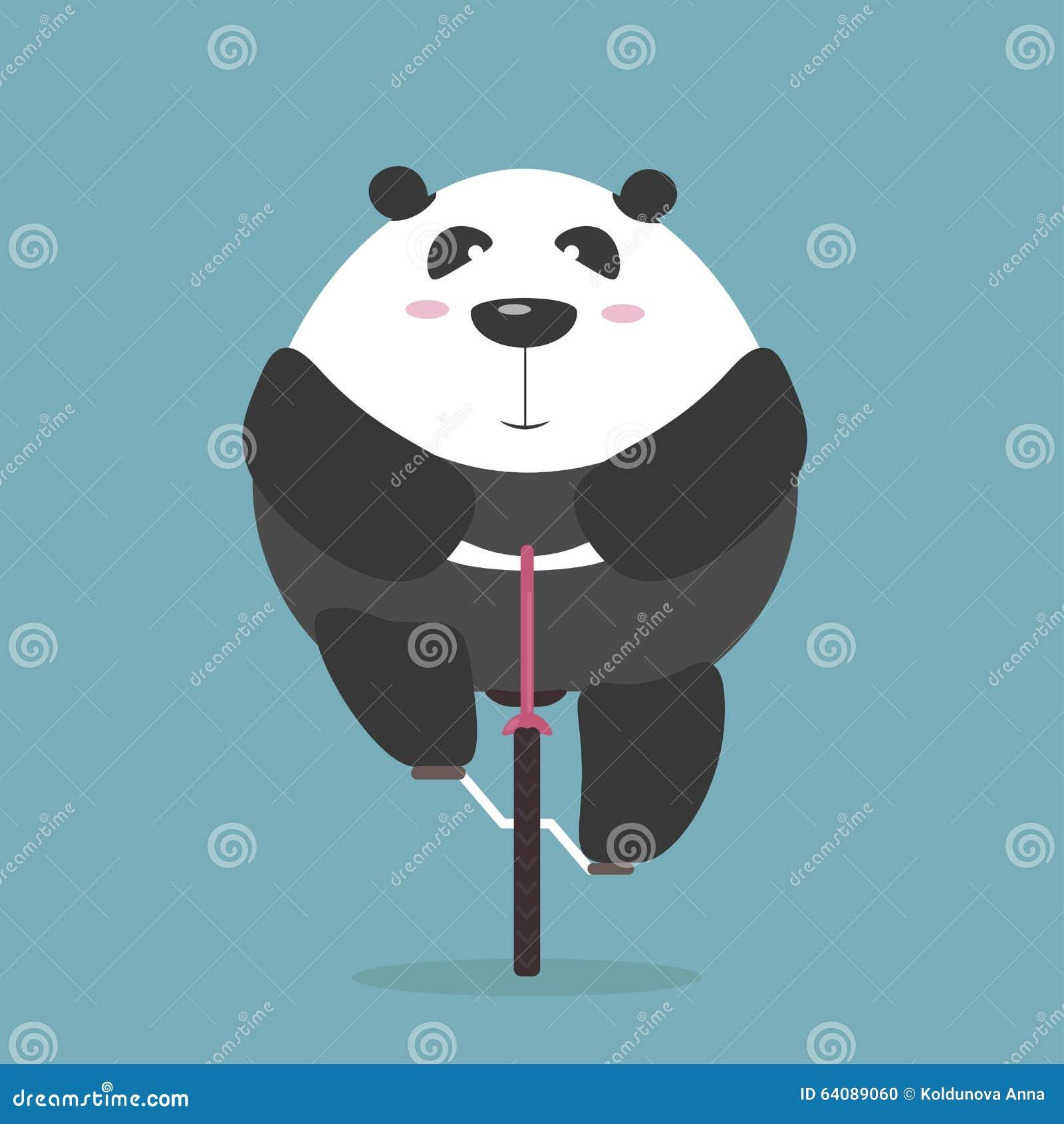Thick giant panda rides bicycle forward