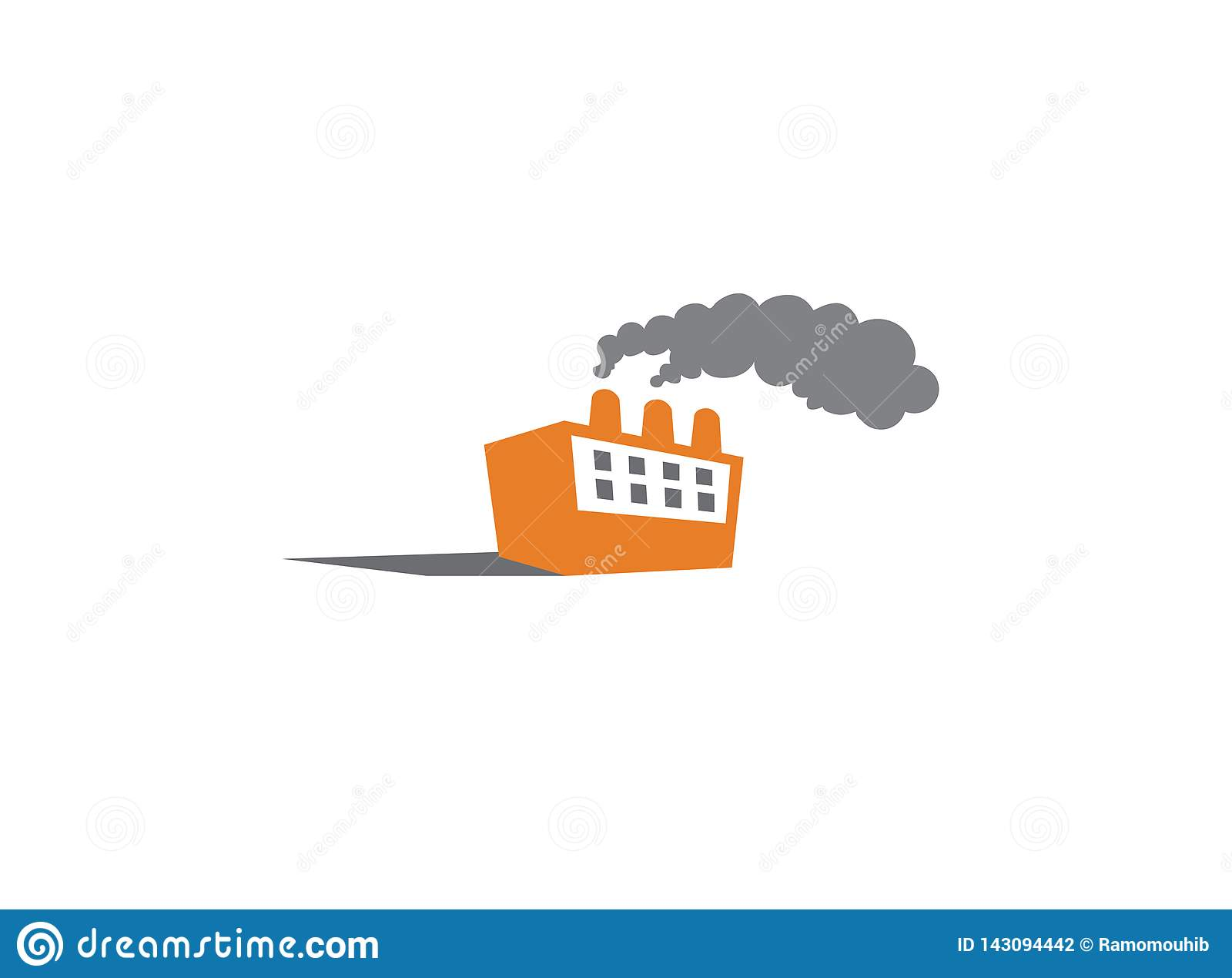 Thick smoke comes out of the factory chimneys for logo design