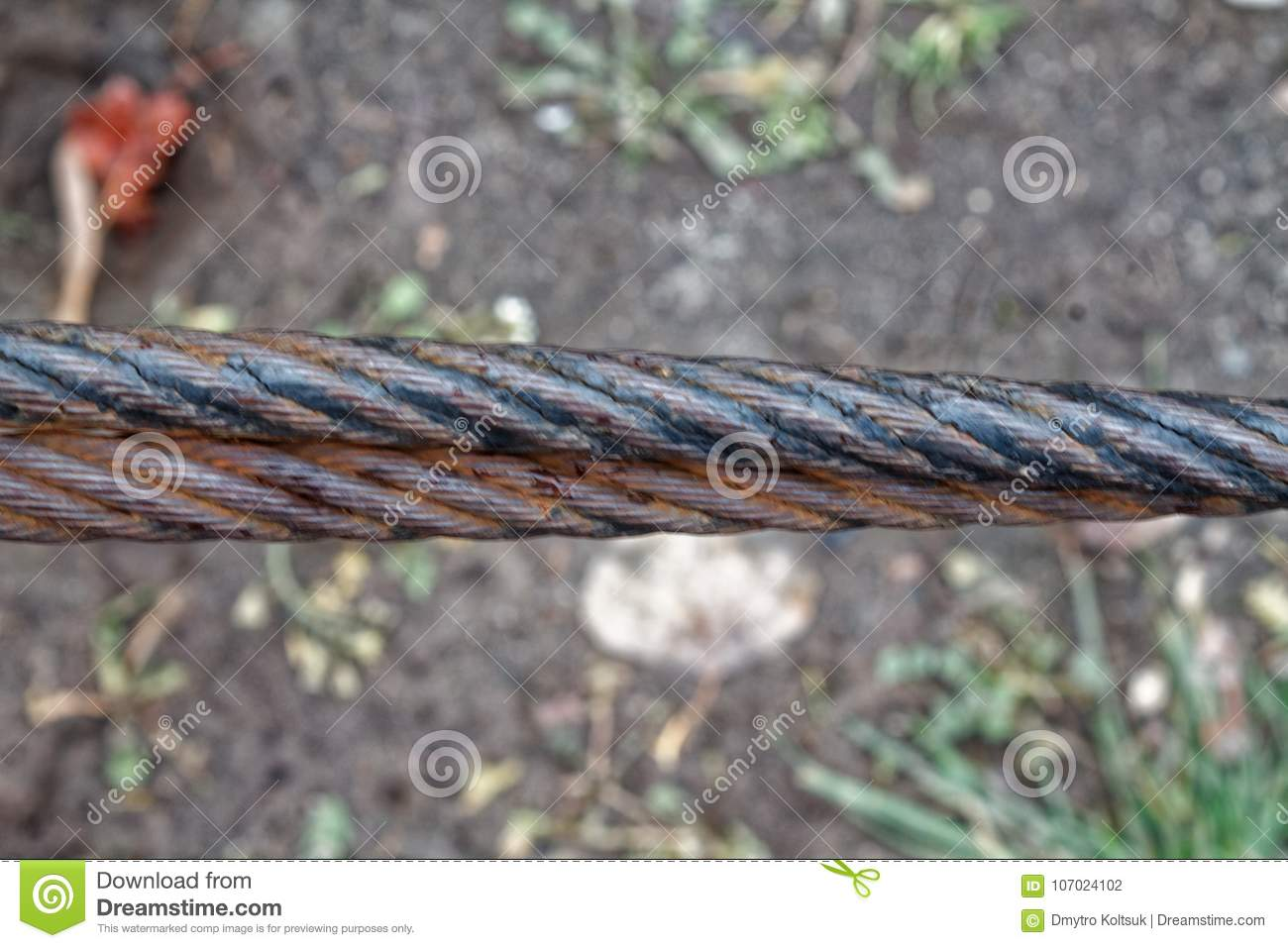 Thick Steel Rope Close Up. Bridge Fence Element. Detailed View. The ...