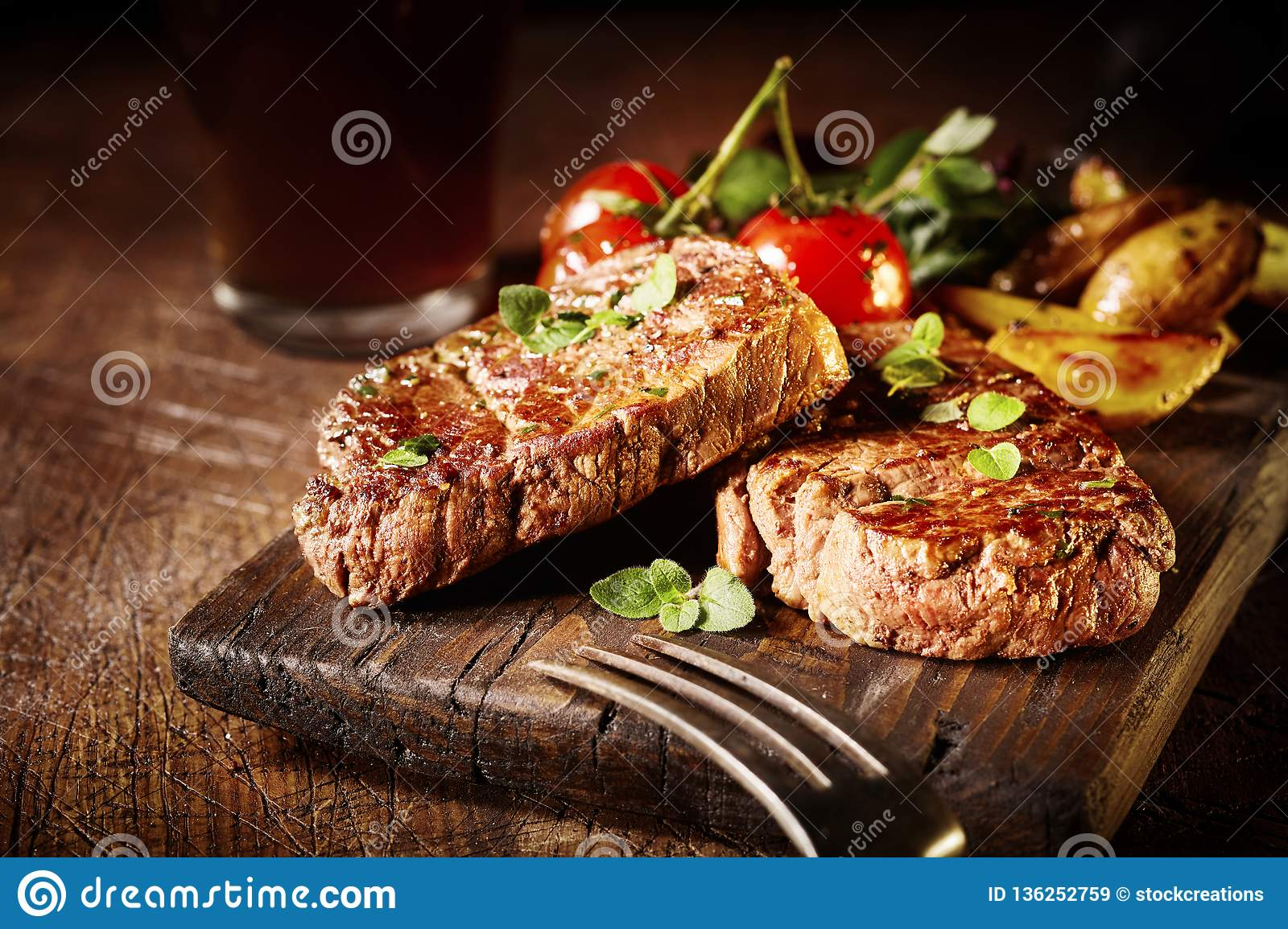 Thick tender roasted or grilled fillet medallions