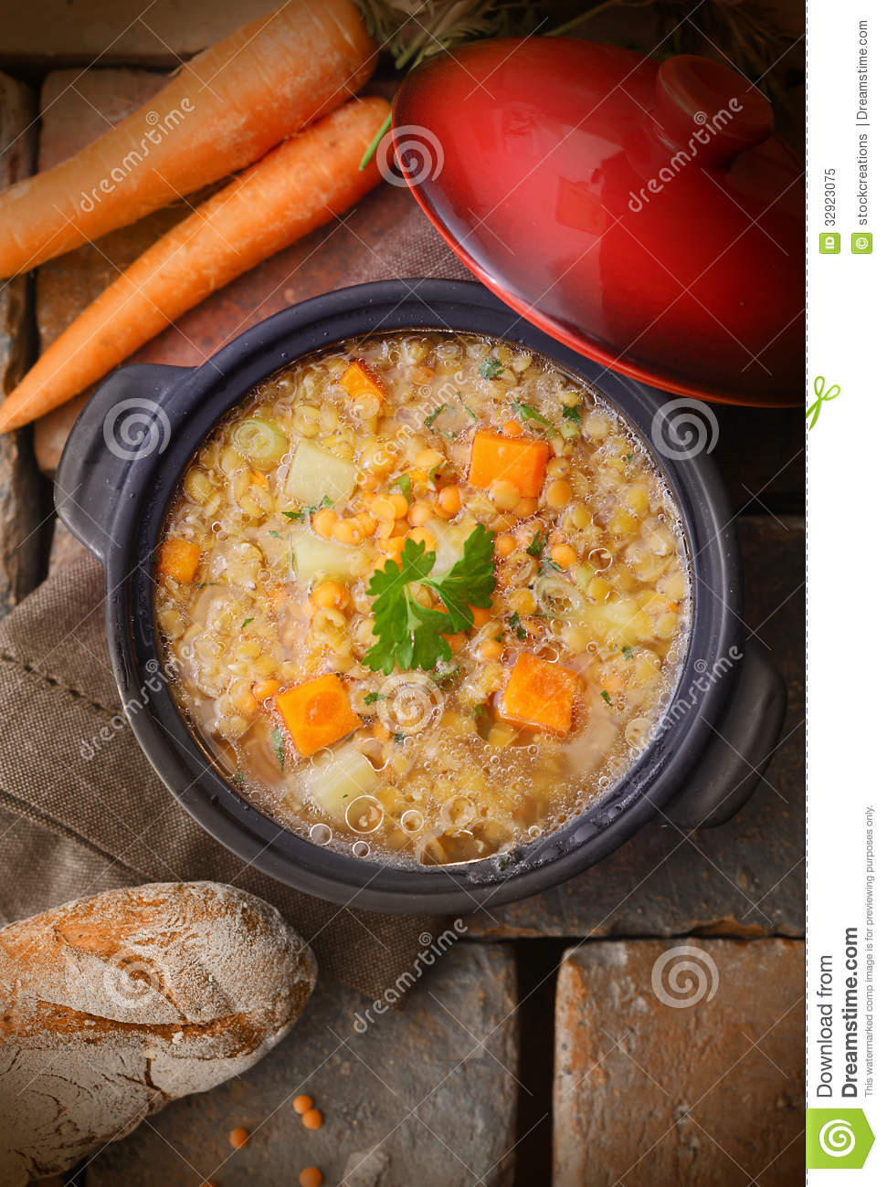 Overhead view of a pot of tasty wholesome thick vegetable soup or stew ...