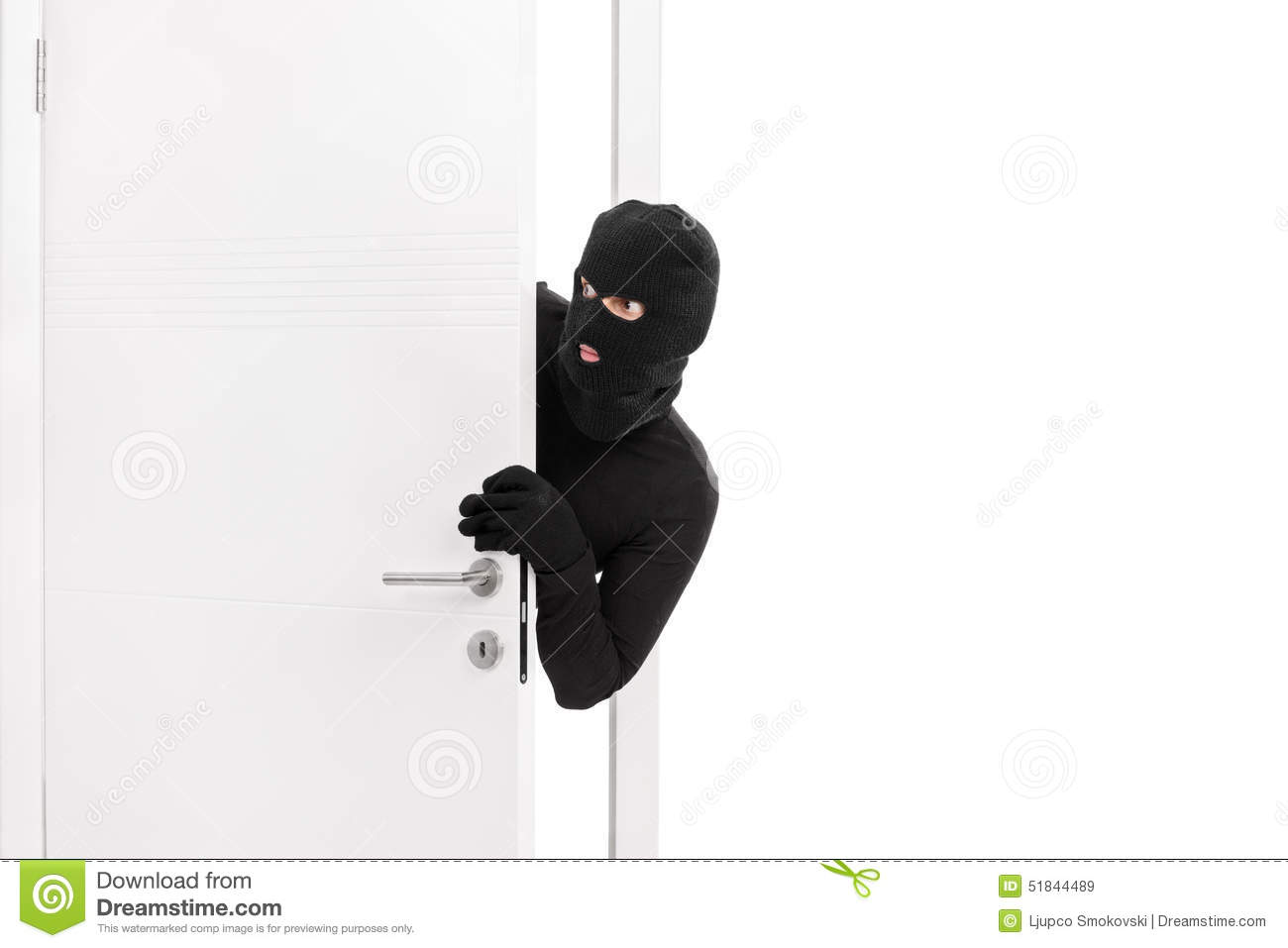 High Quality Thief Breaking Into A Room And Carefully Looking Around Royalty Free Stock  Images