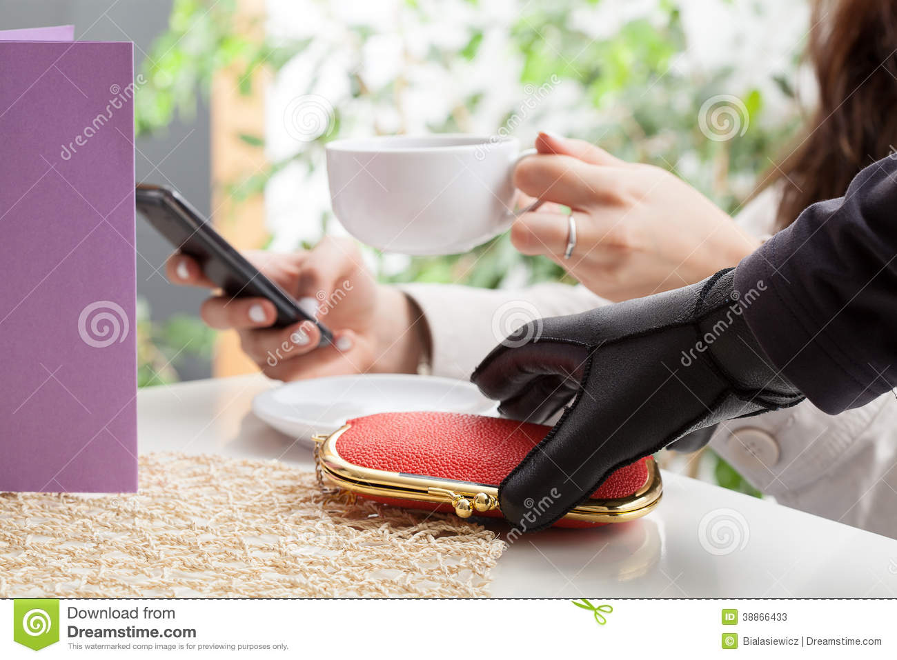 Thief In A Coffee Shop Stock Image Image Of Pickpocketing