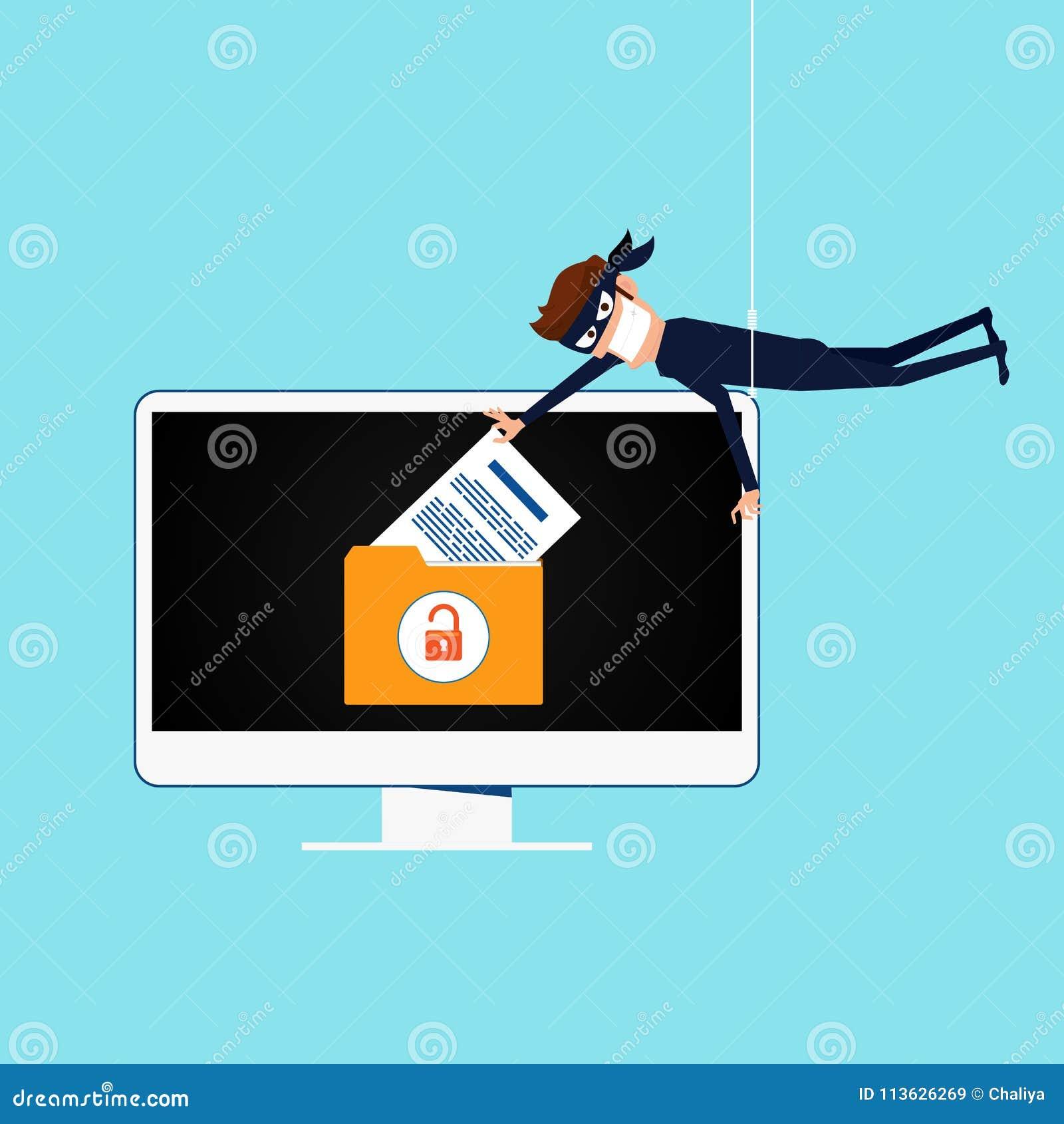 Thief  Hacker Stealing Sensitive Data As Passwords From A