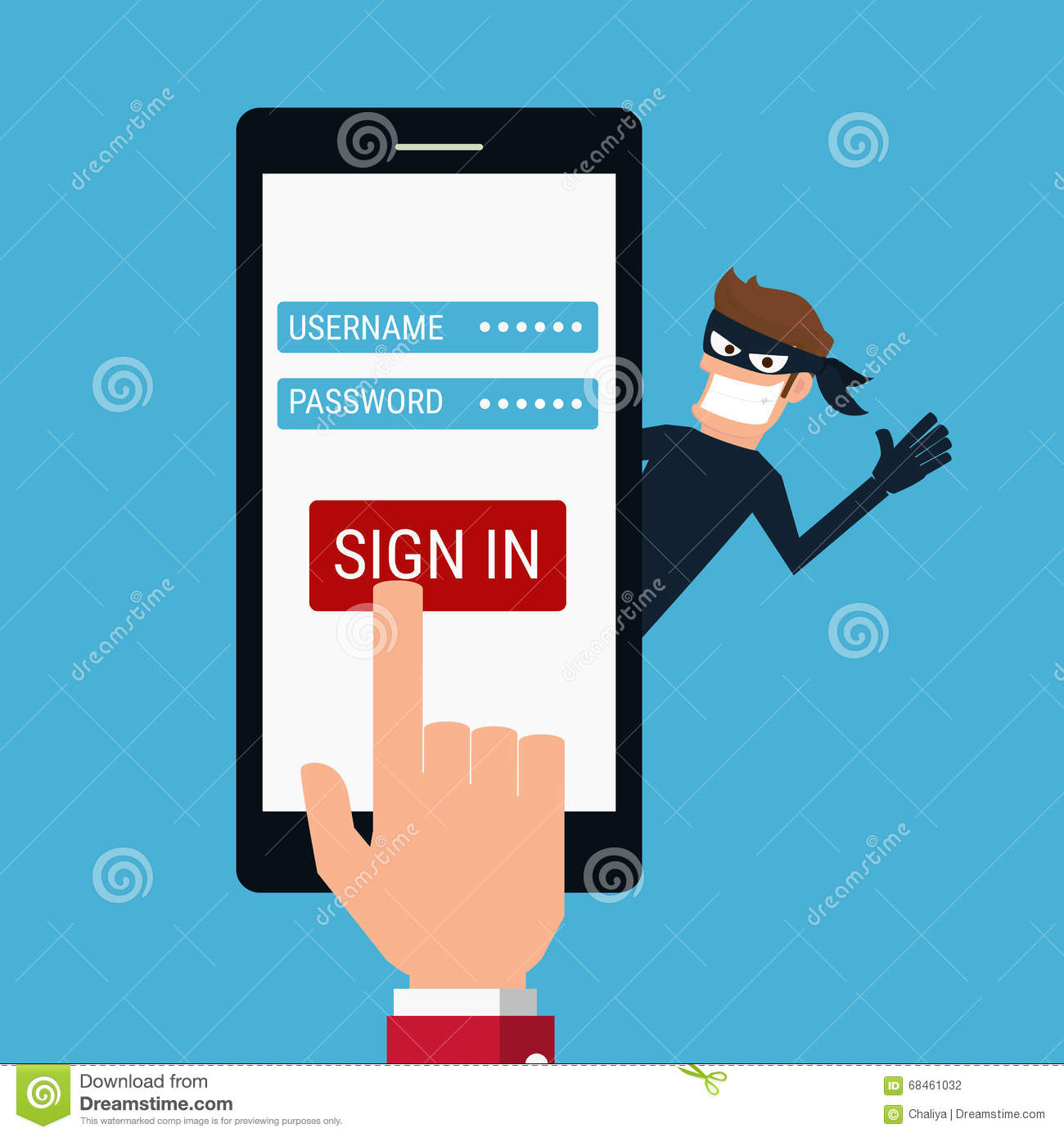 Thief. Hacker stealing sensitive data as passwords from a smartphone useful for anti phishing and internet viruses campaigns.