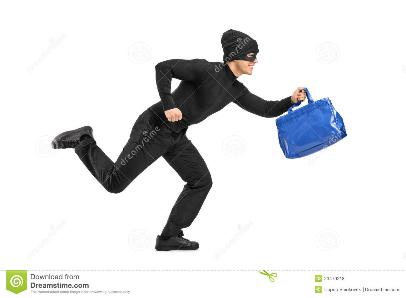 Thief Running With A Stolen Purse Royalty Free Stock ...