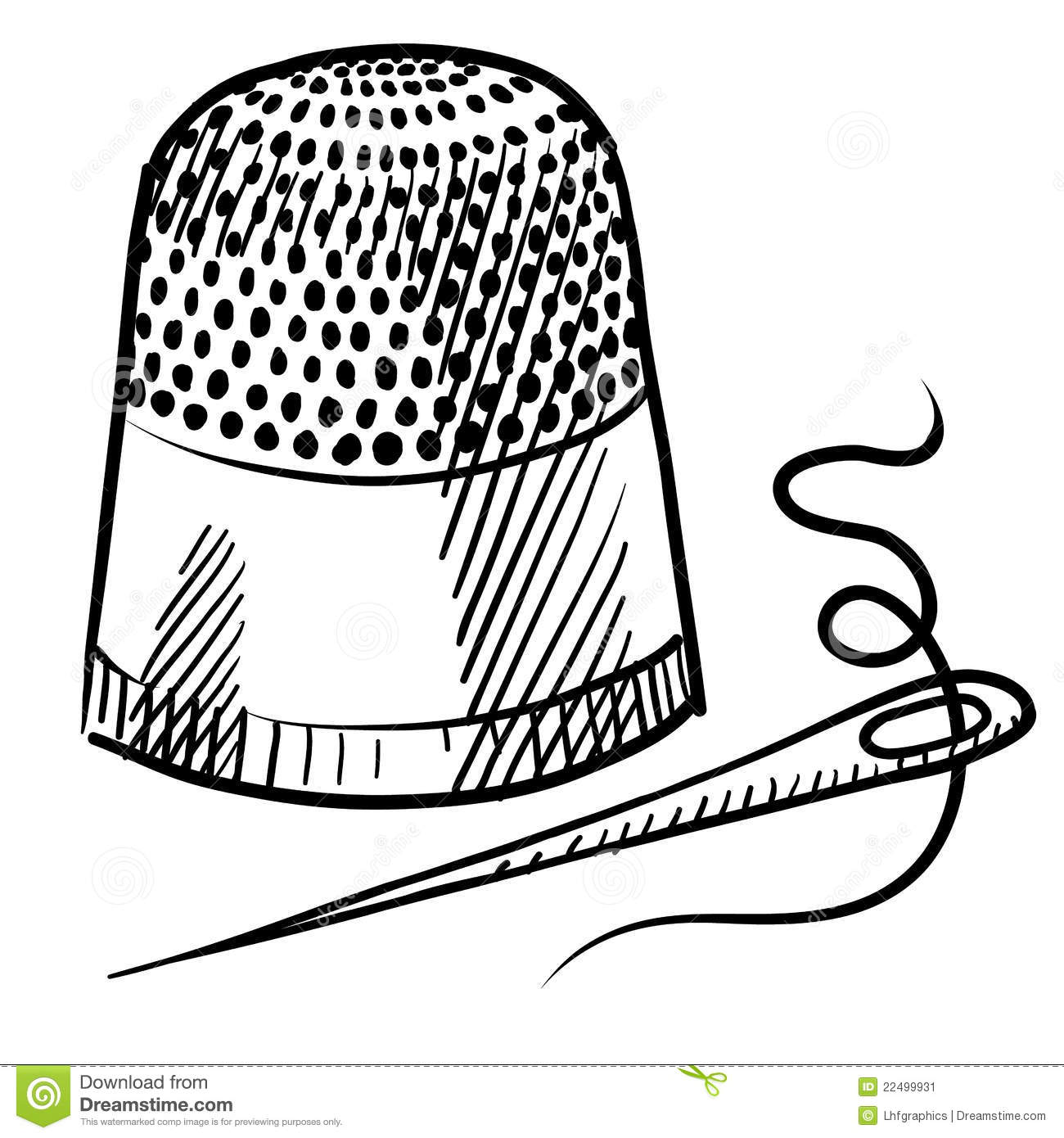 Doodle style thimble and needle illustration in vector format suitable ...