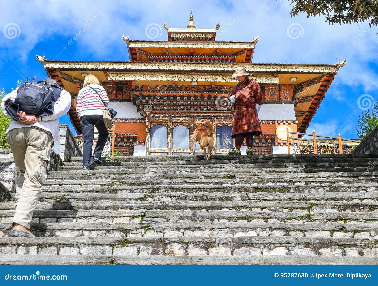 Thimphu Bhutan 10 September 2016 Touristen Am Tempel Druk