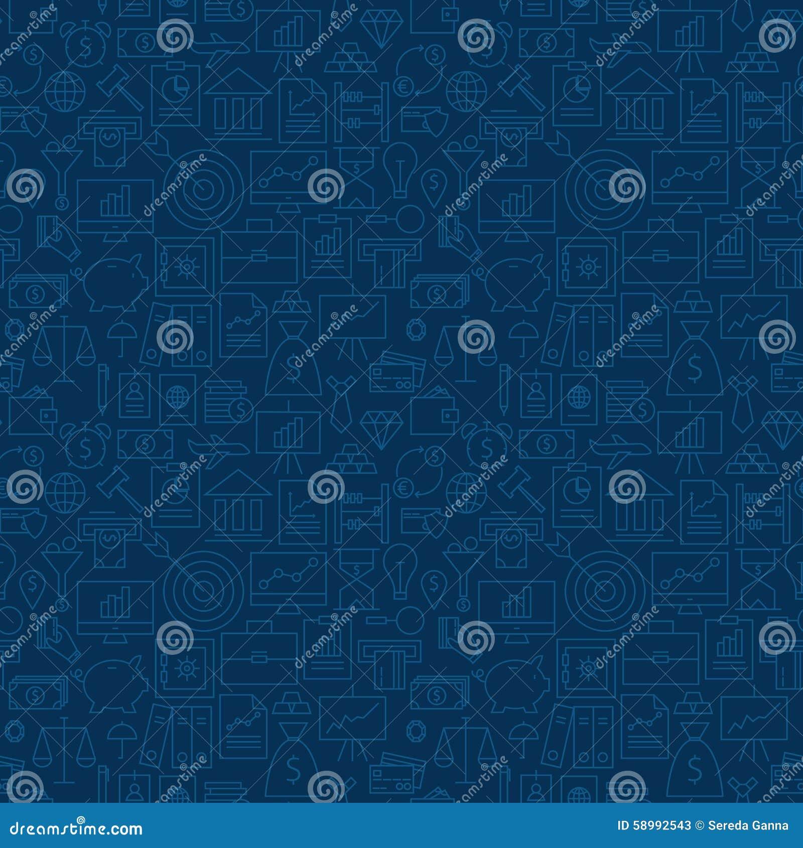 Thin Line Finance Business Money Seamless Blue Pattern