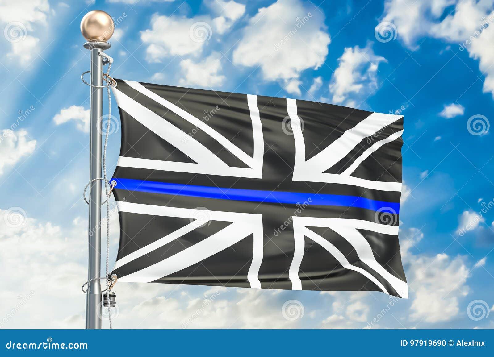 Thin Blue Line. Black Flag of United Kingdom with Police Blue Li