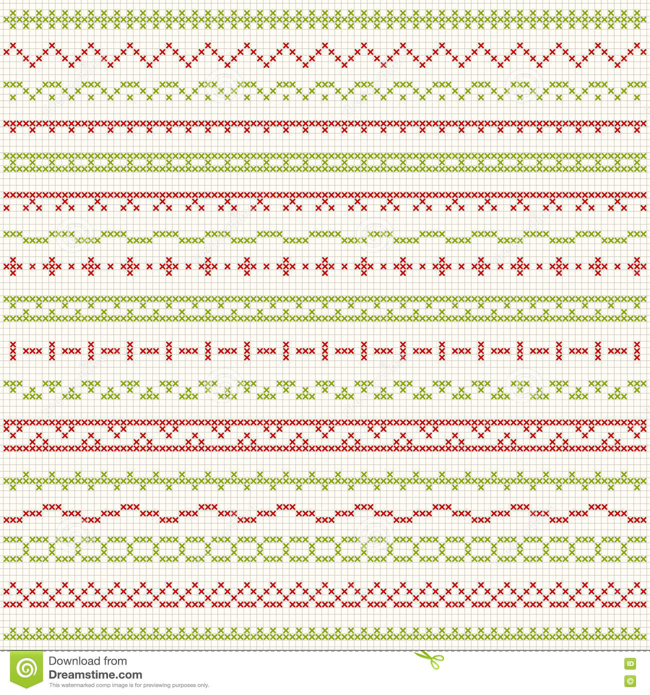 Thin Borders For Christmas Cross Stitch Embroidery Stock Vector