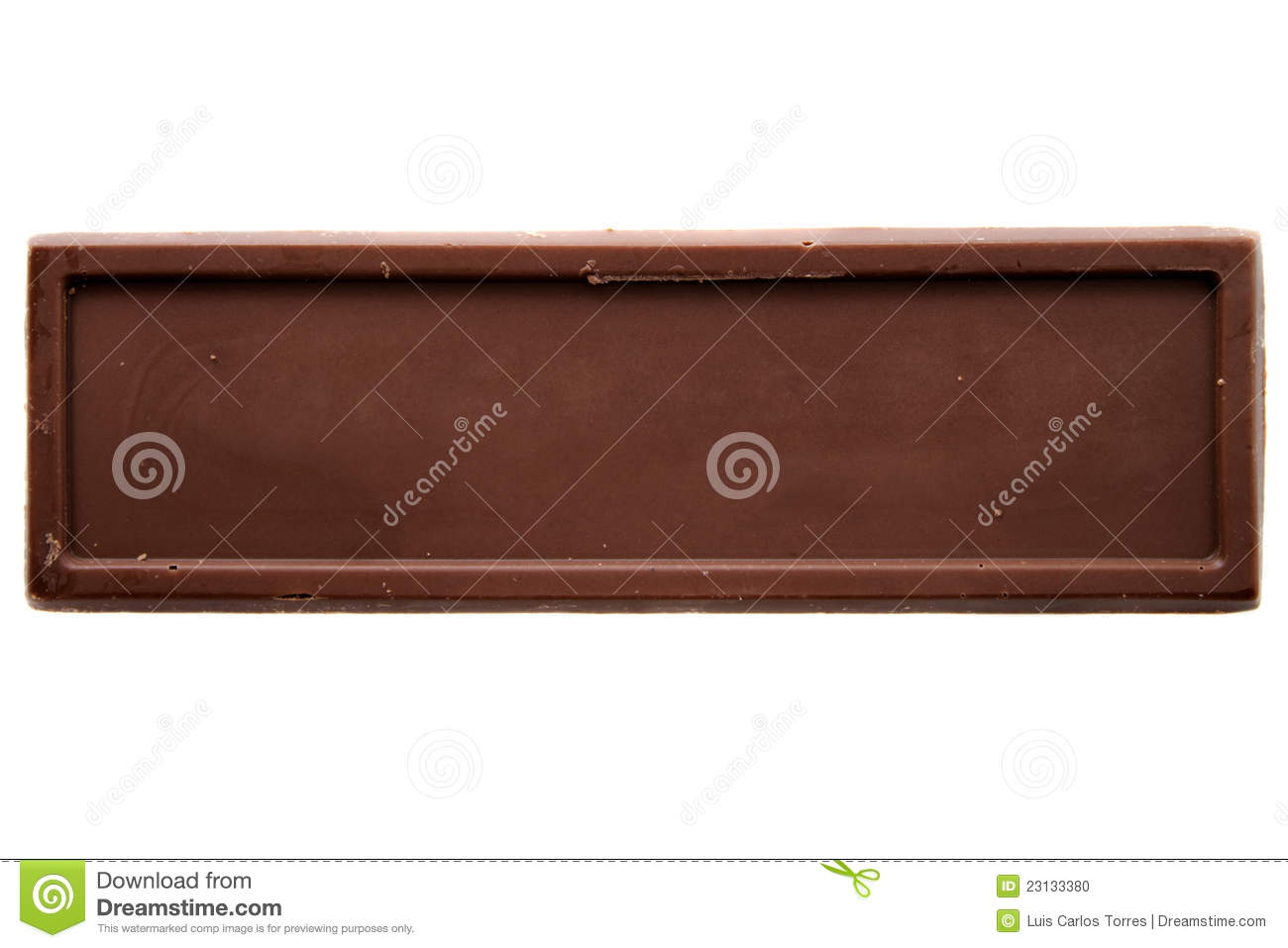 Thin chocolate bar top view