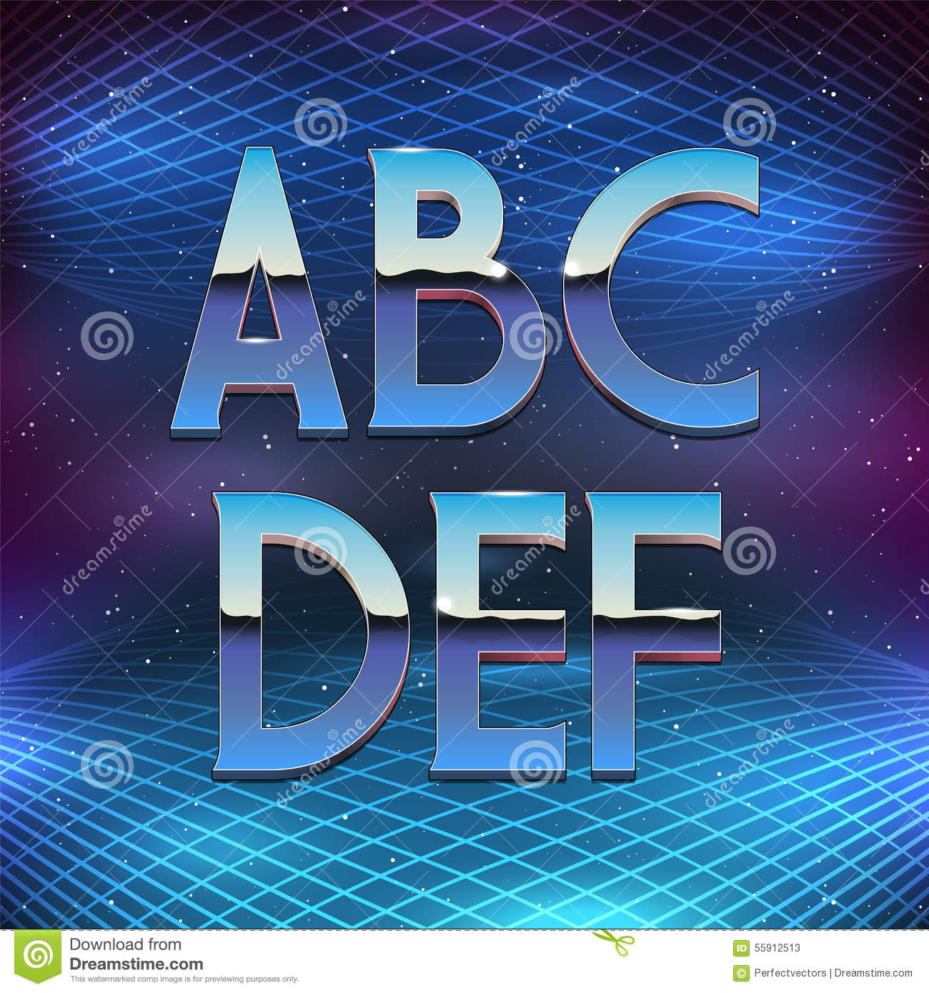 thin chrome alphabet in 80s retro futurism style stock vector