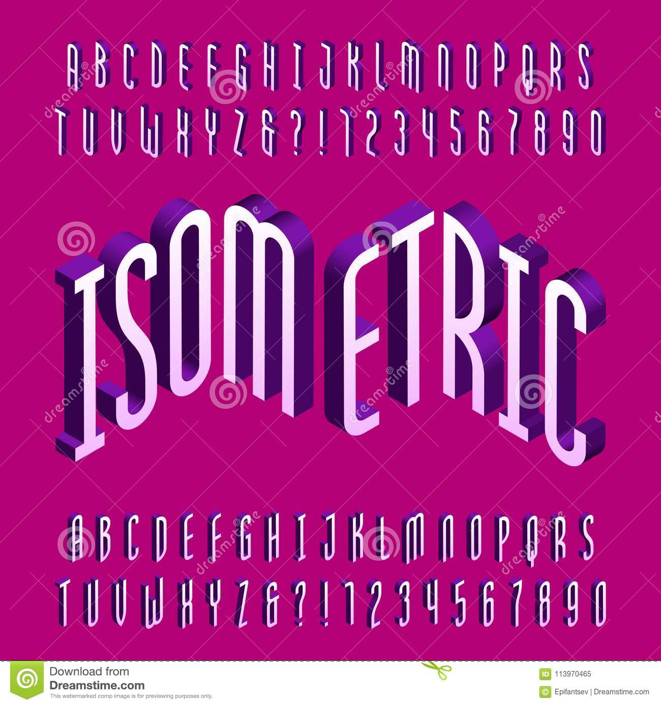 Thin Isometric Alphabet Font. Three-dimensional Effect Letters And ...