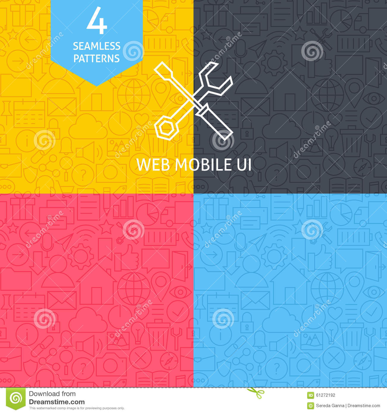 Line Art Website : Thin line art web and mobile user interface pattern set