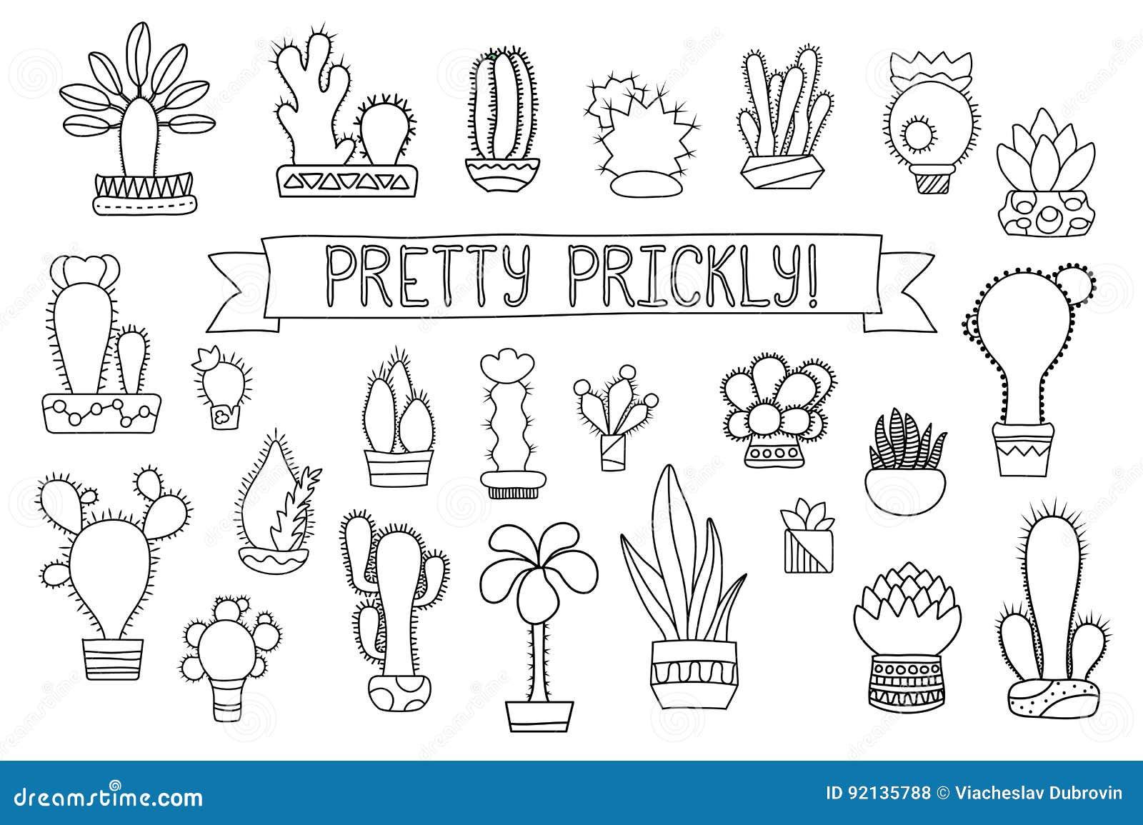 Kleurplaat Cactus Simpel Thin Line Cactus And Succulent Clipart Potted Cactus And