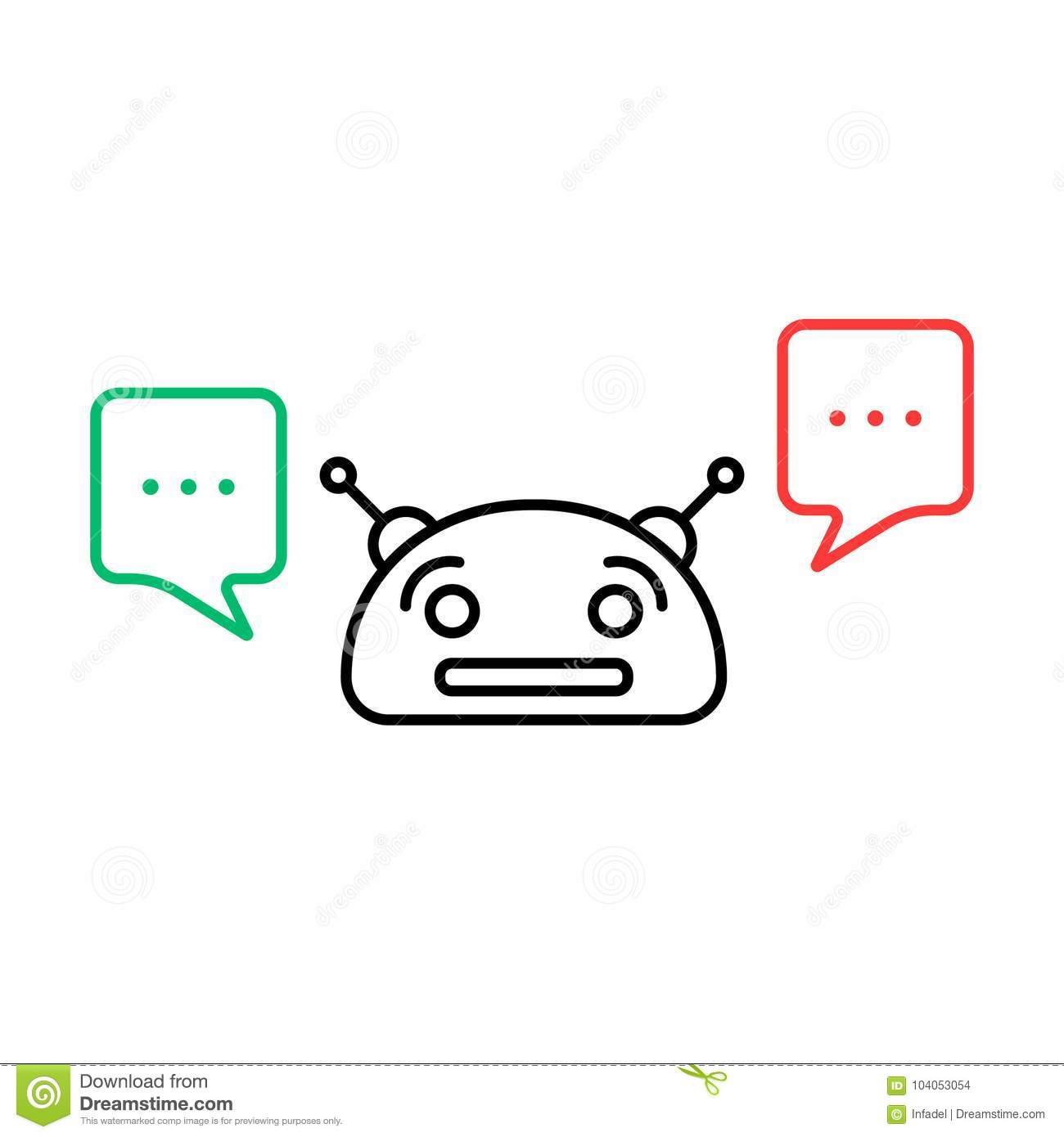Thin Line Chatbot With Chatter Box Stock Vector