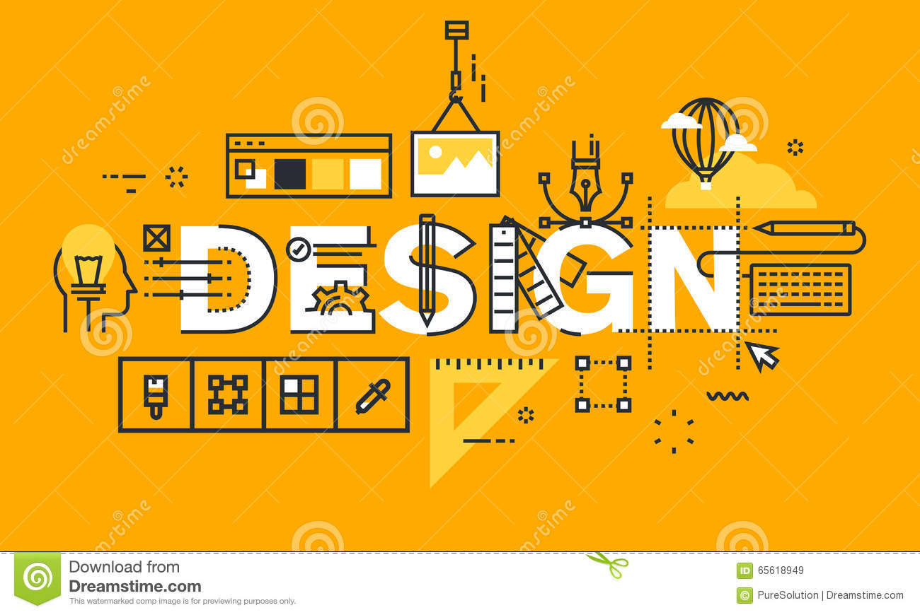 Thin line flat design banner of graphic design solutions stock vector illustration 65618949 for Microsoft word graphic design