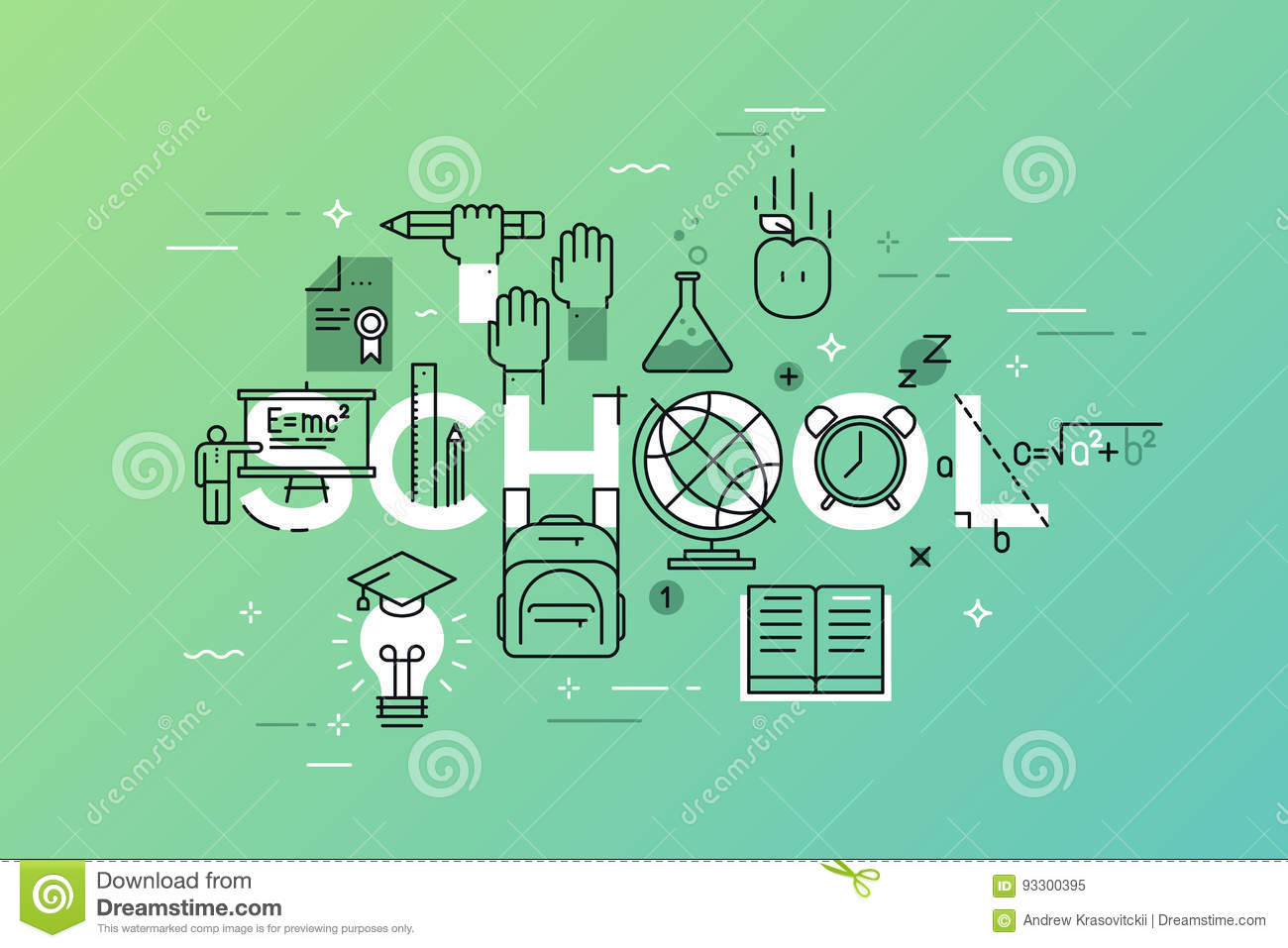 Thin Line Flat Design Banner Of Learning Web Page Stock Vector ...