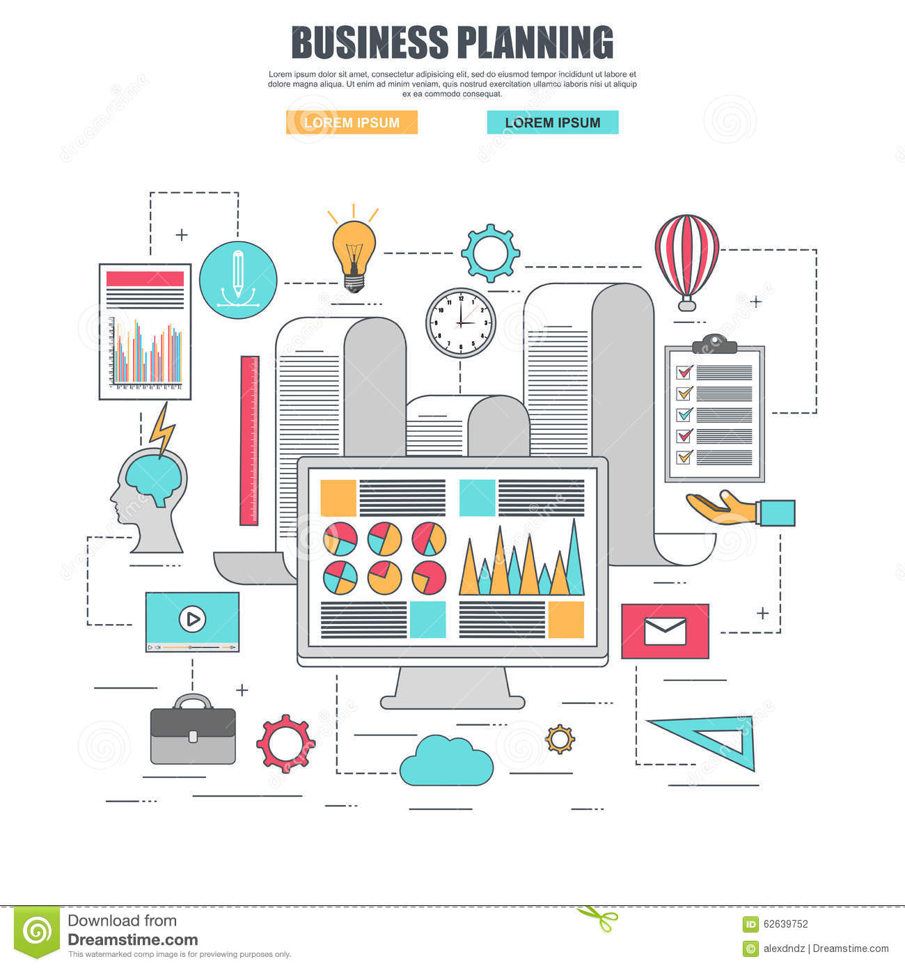 Flat design concept for business planning and analytics for Concept design and planning