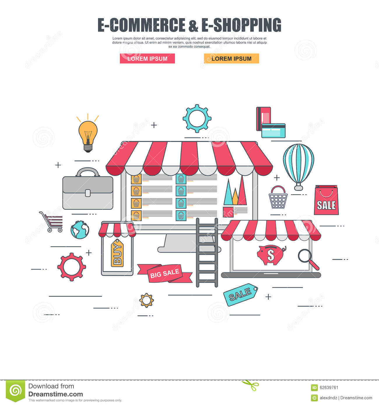 Thin line flat design concept of purchase goods in online for How to buy goods online