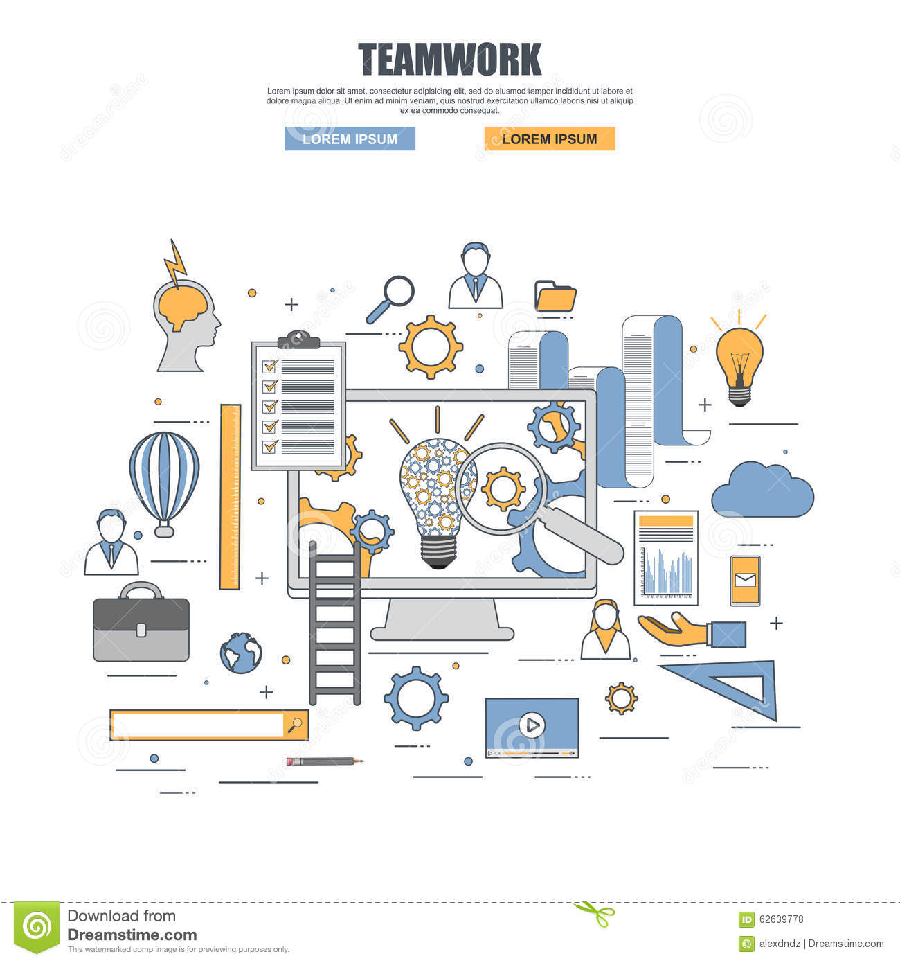 Thin line flat design concept of teamwork stock vector for Concept design and planning