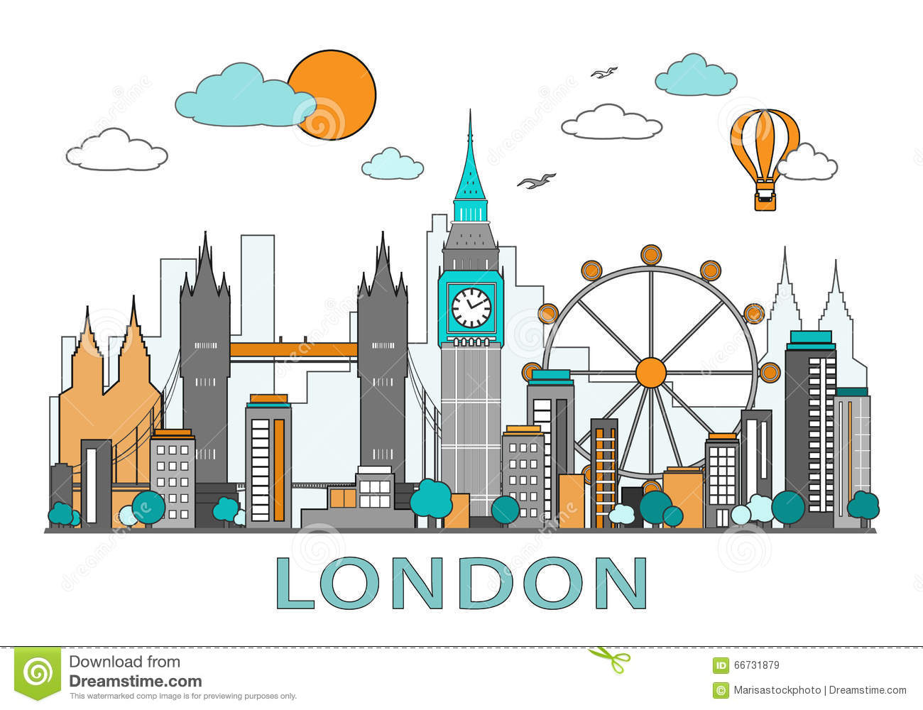 Thin line flat design of London city. Modern London skyline vector illustration, isolated.