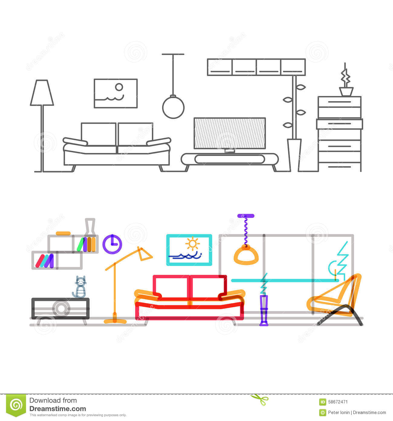Thin Line Flat Design Of Modern Living Room Stock Image