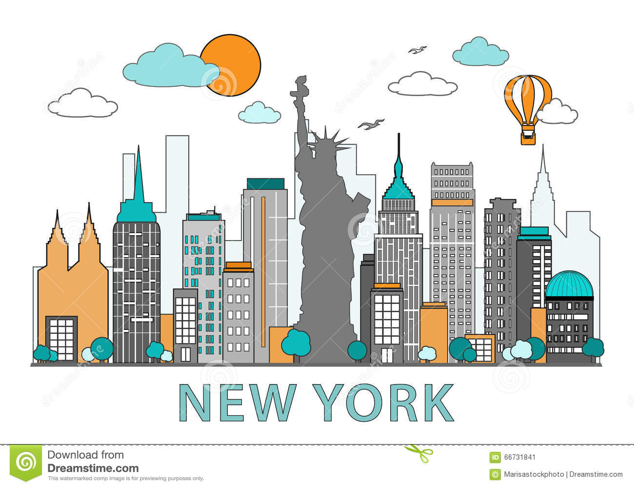 Bien-aimé Thin Line Flat Design Of New York City. Modern New York Skyline  CP04