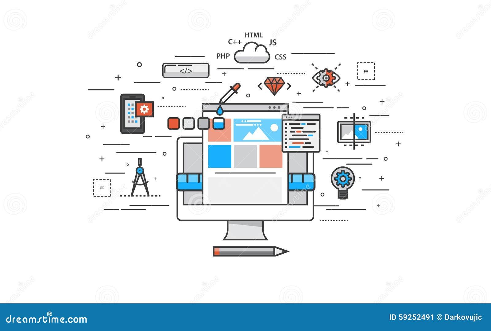 Thin line flat design of website building process stock for Building design website