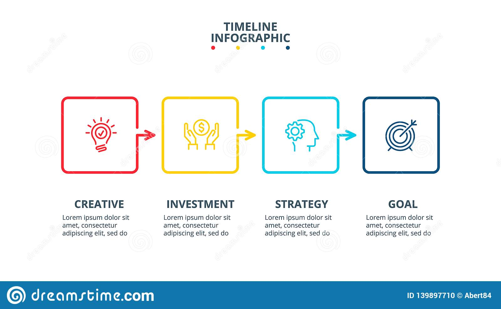 Thin line flat elements for infographic. Template for diagram, graph, presentation and chart. Business concept with 4