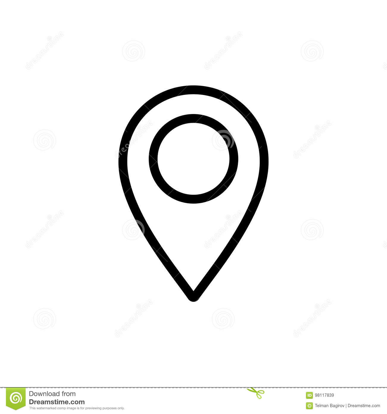thin line google map pin point location icon stock illustration