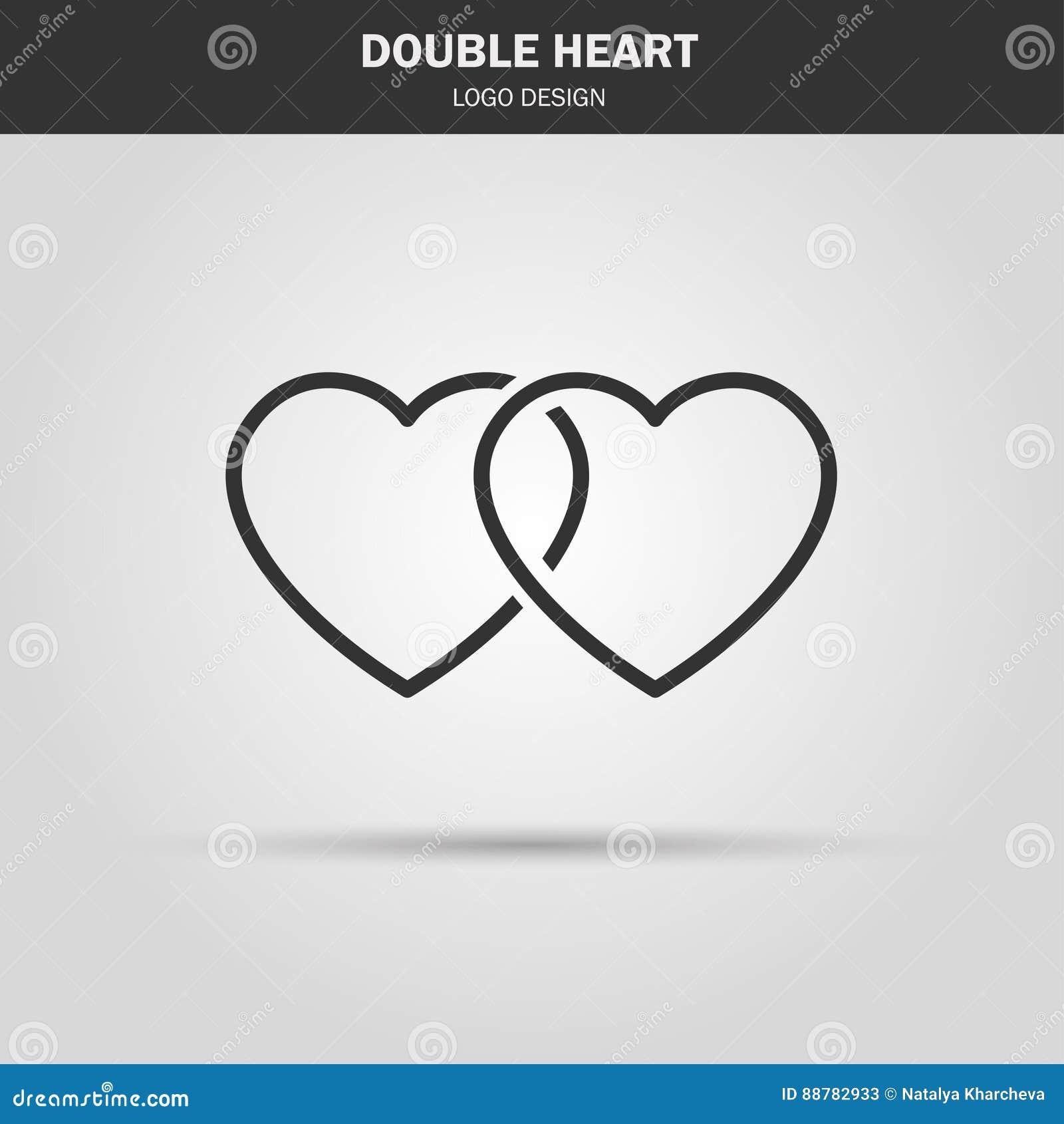 Thin Line Icon Double Heart Logo Love Symbol Use In Decoratio