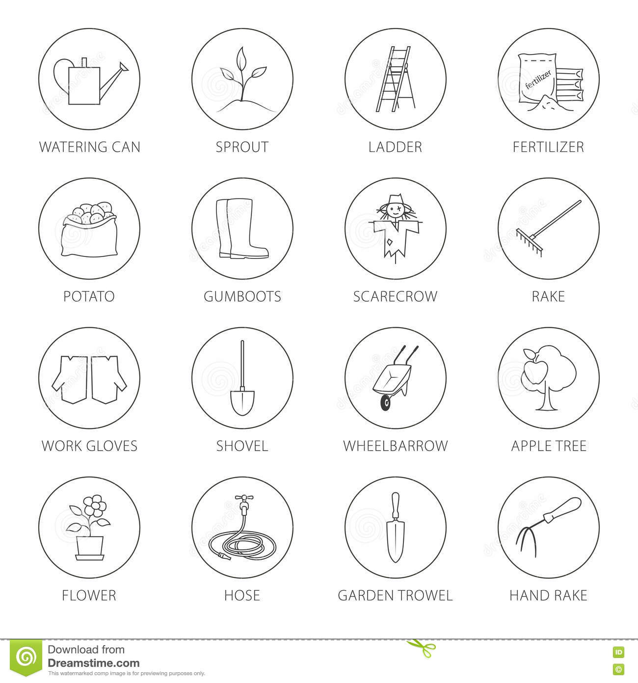 Thin line icons agricultural tool stock vector image for Different tools and equipment in horticulture