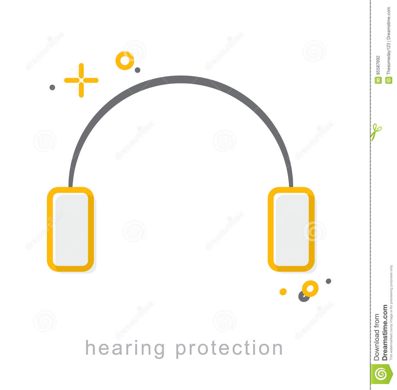 Thin Line Icons Hearing Protection Stock Vector Illustration Of
