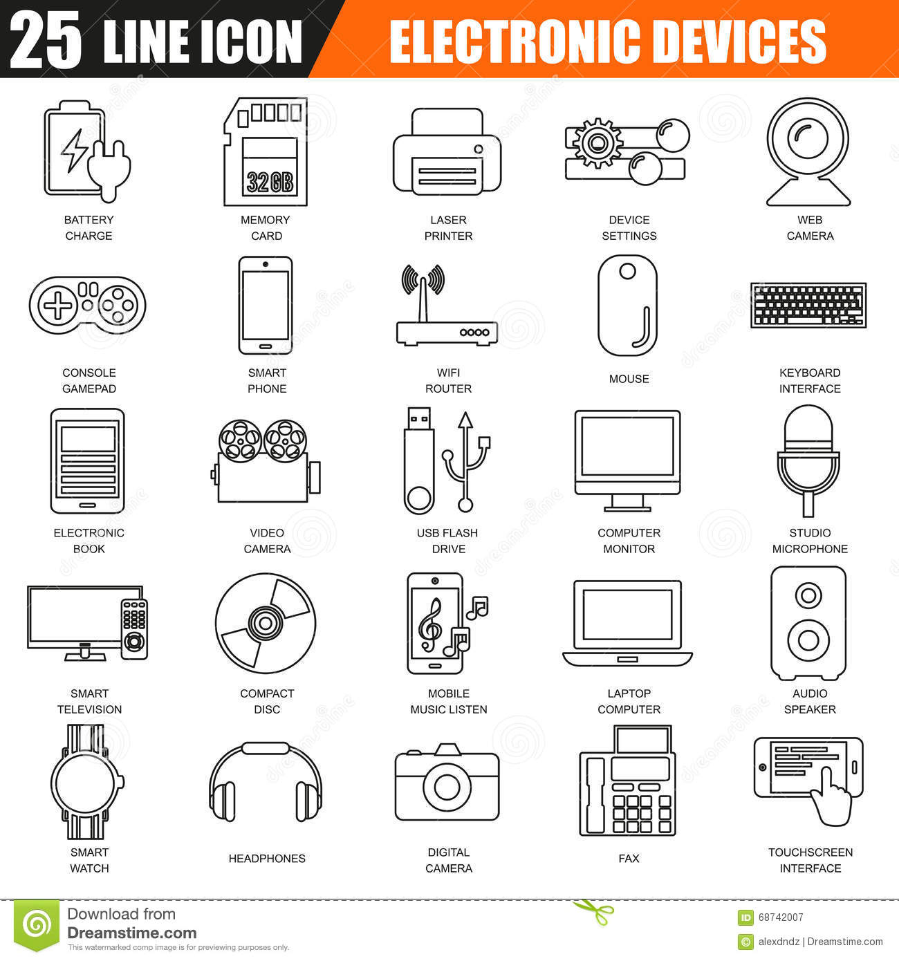 thin line icons set of computer electronics and multimedia devices stock vector image 68742007