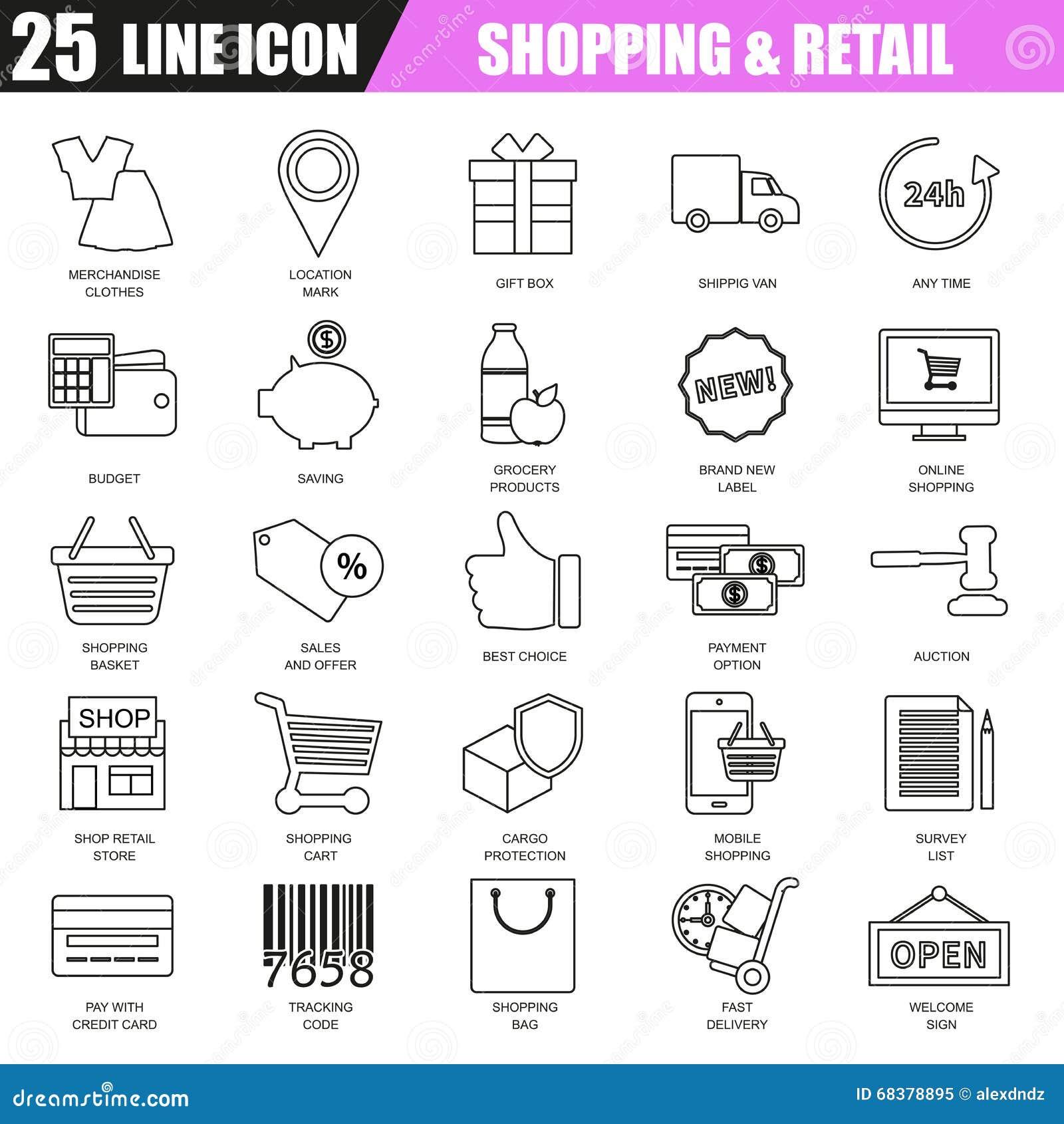 Thin line icons set of e commerce internet shopping stock vector download thin line icons set of e commerce internet shopping stock vector illustration altavistaventures Images