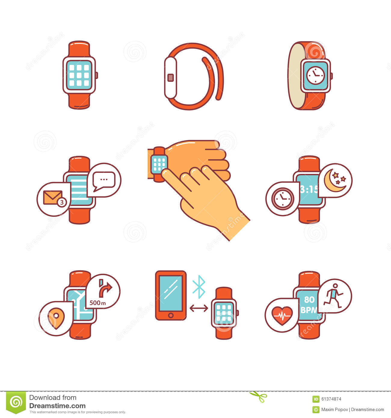 Set Line Icons Of Smart Watch Vector Illustration ...