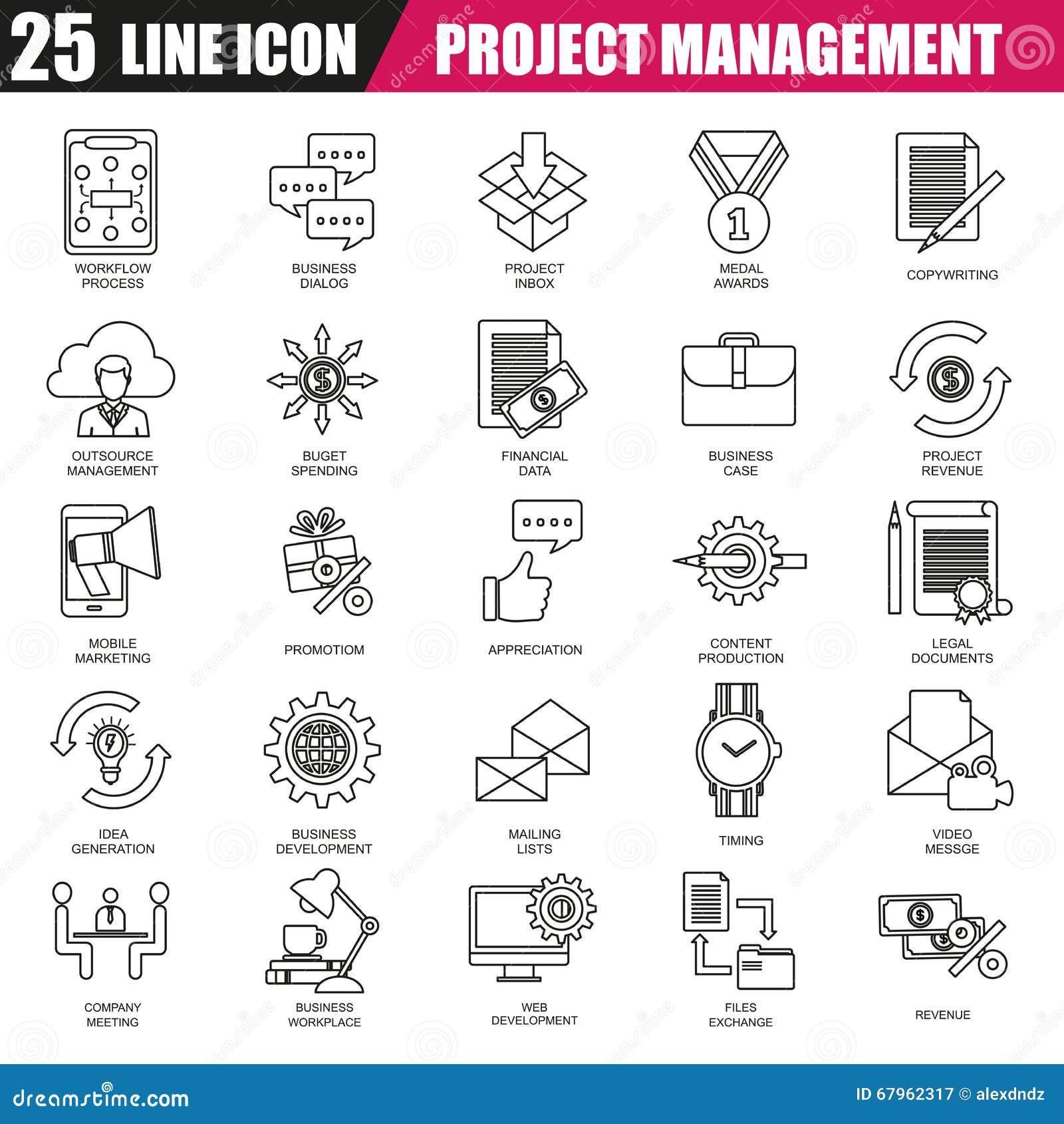 Project Management Line Icon Set Vector Illustration