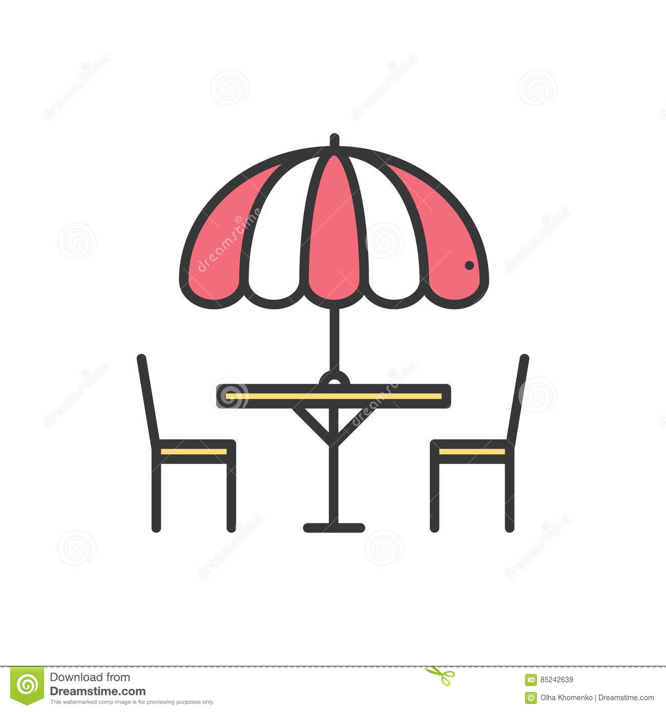 Thin line icons set. Table and chair outside. Outdoors. Silhouette street cafe, restaurant sign. Food service. Patio