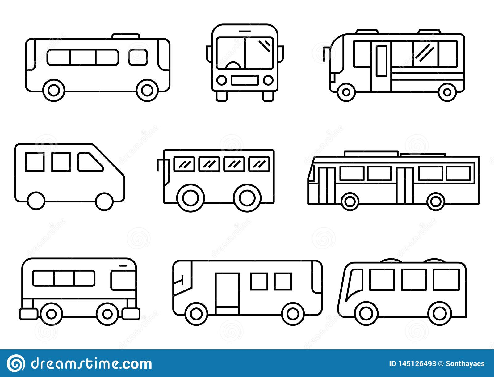 Thin line icons Bus set