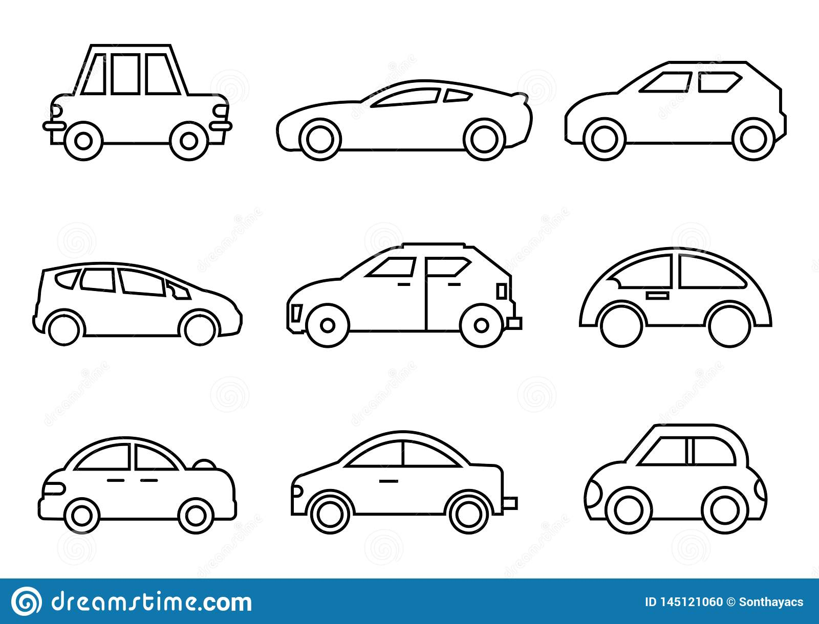 Thin line icons transportation