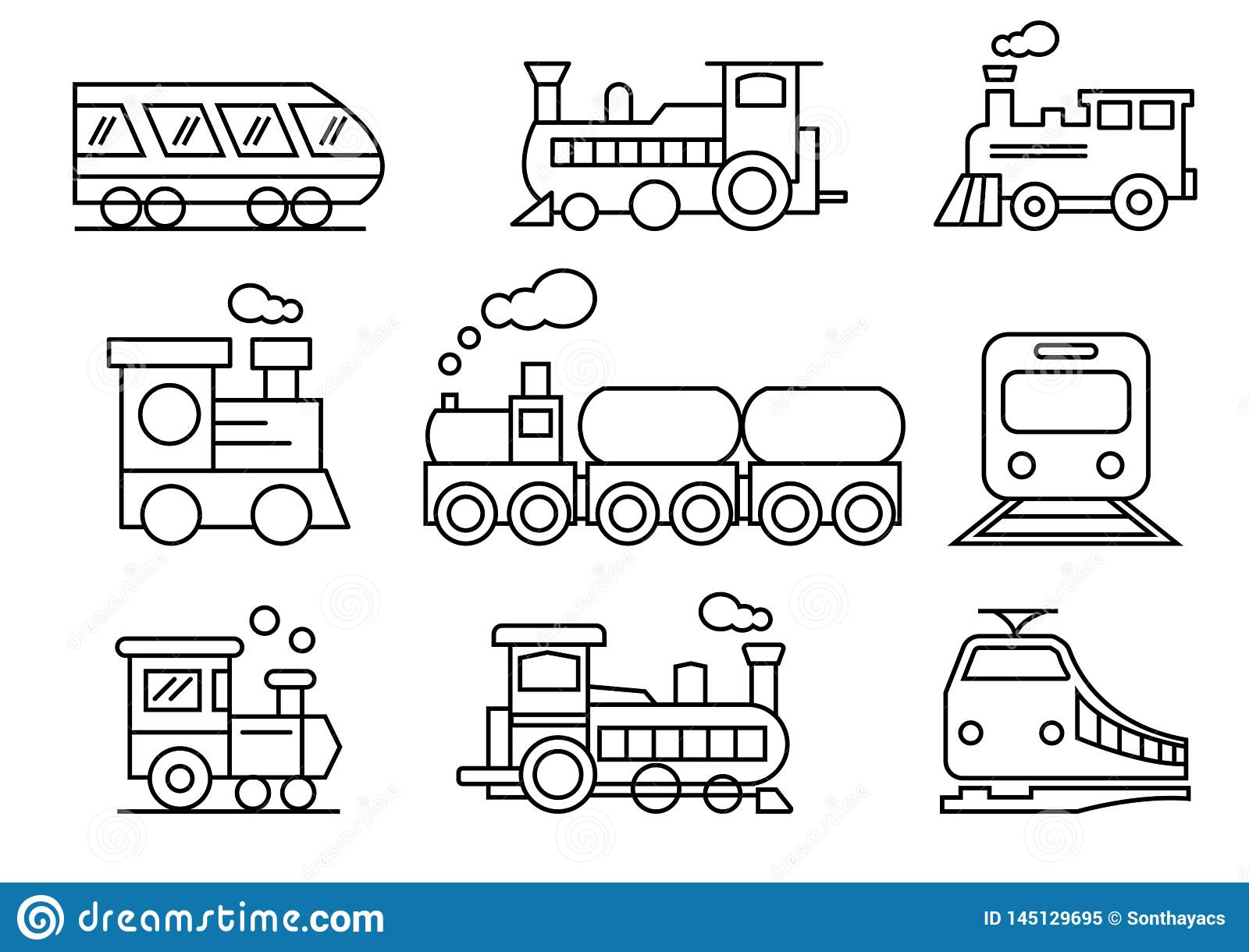 Line icons set,transportation,Train,vector illustrations