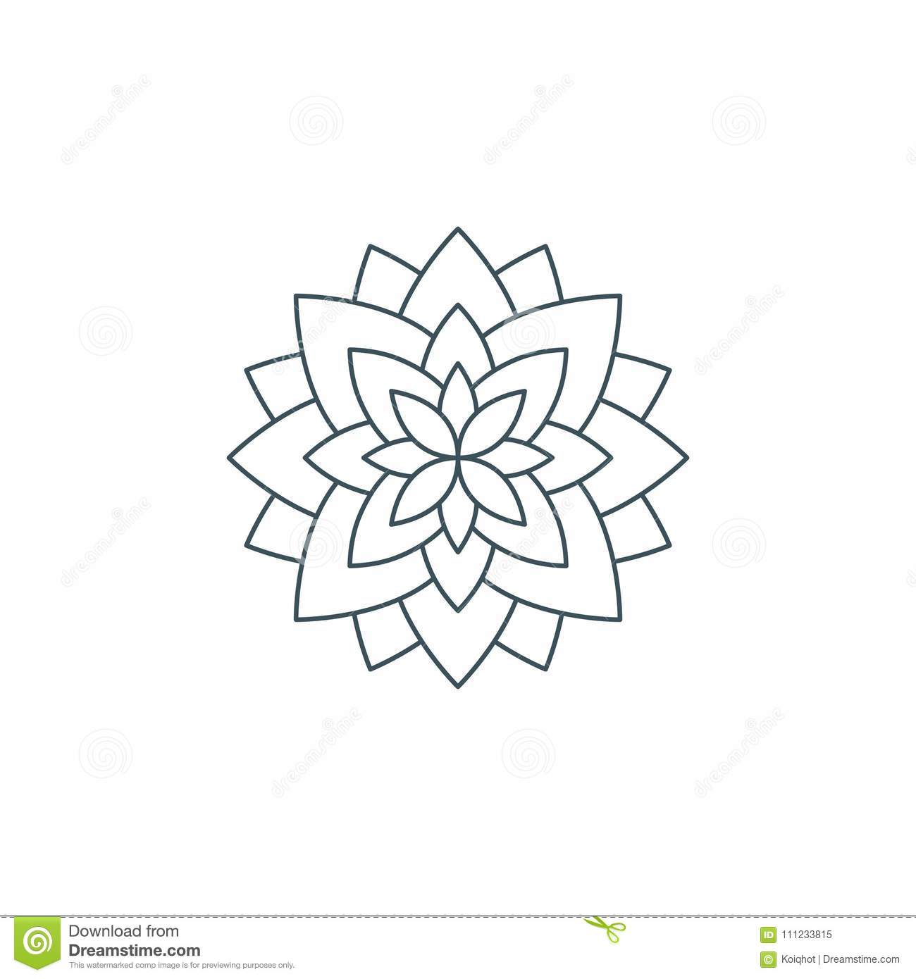 Thin Line Lotus Flower Or Flower Of Life Stock Vector Illustration